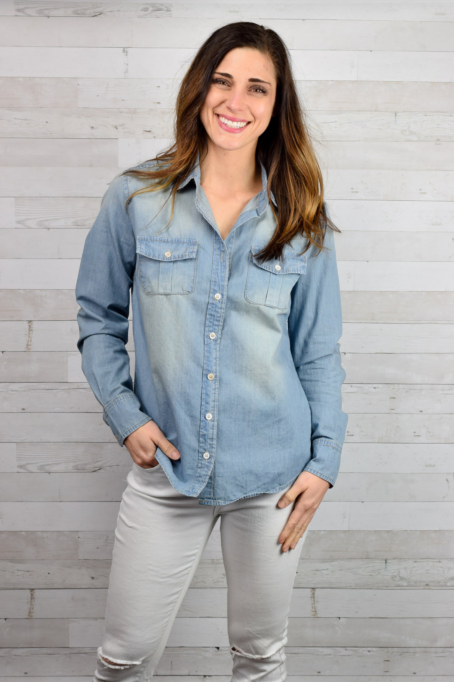On Adventure Chambray Button Up