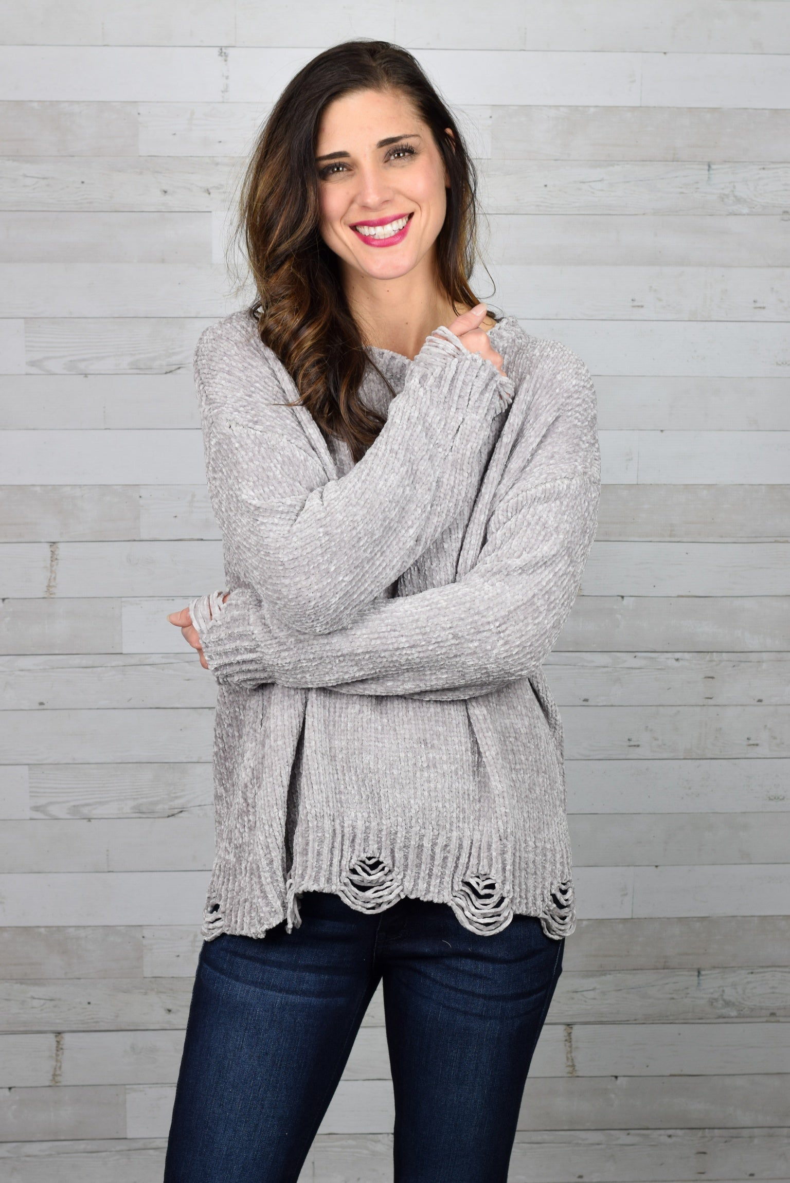 Dead End Road Distressed Chenille Sweater