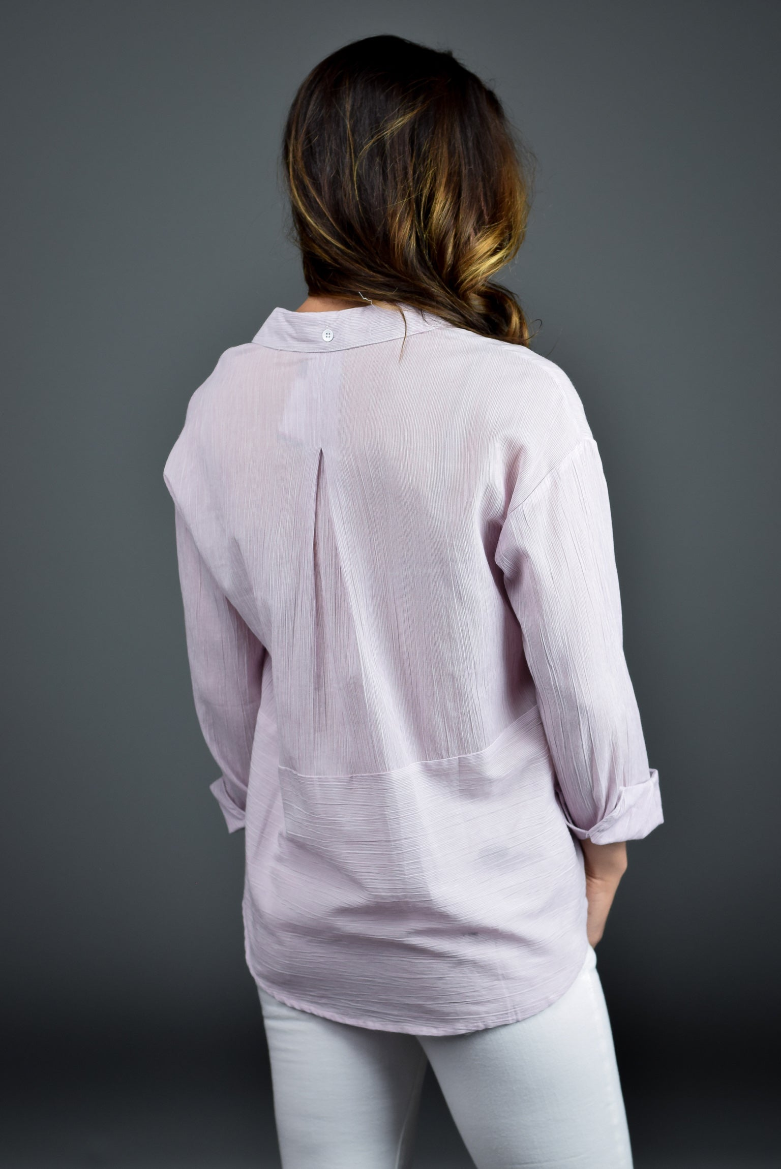 Traveling Weekend Lavender Button Down Long Sleeve Top