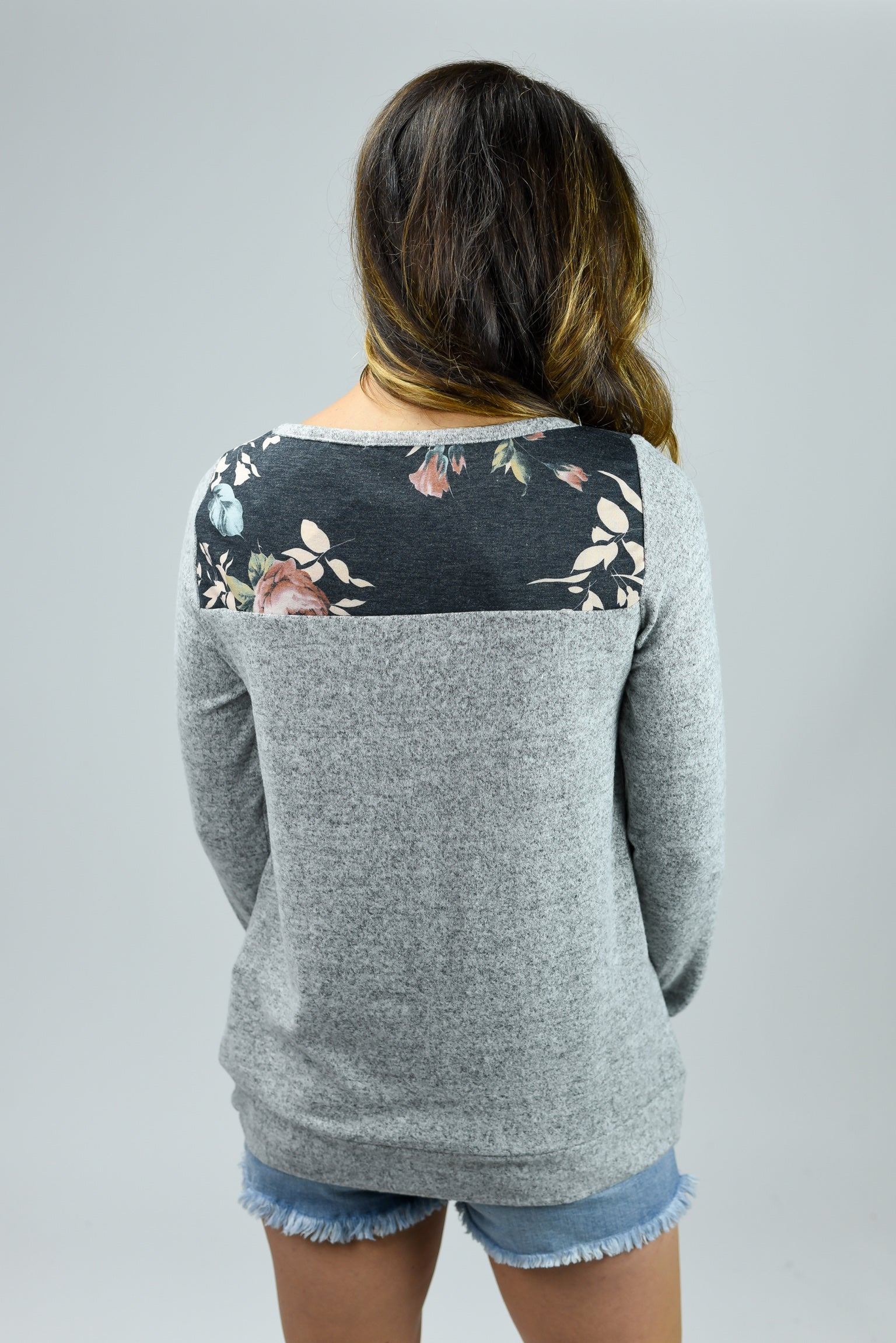 Never Compromise Floral Block Charcoal Long Sleeve