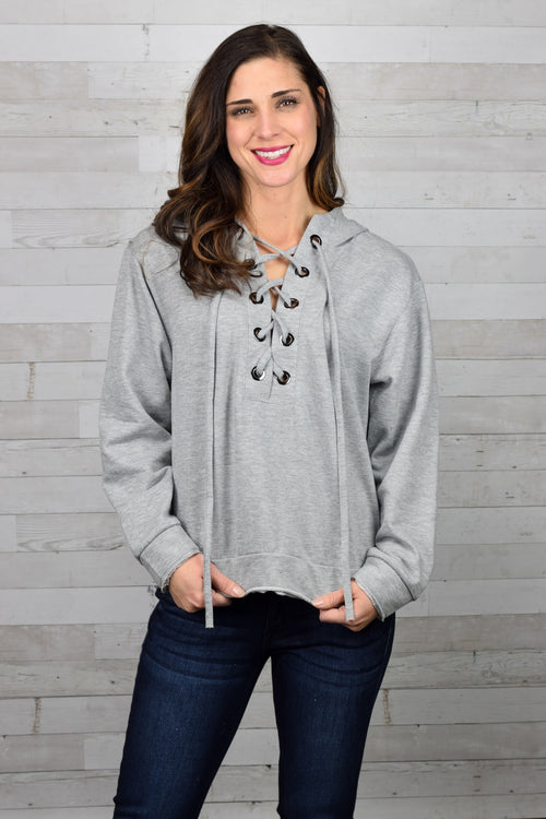 Young Love Lace Up Hoodie- Heather Grey