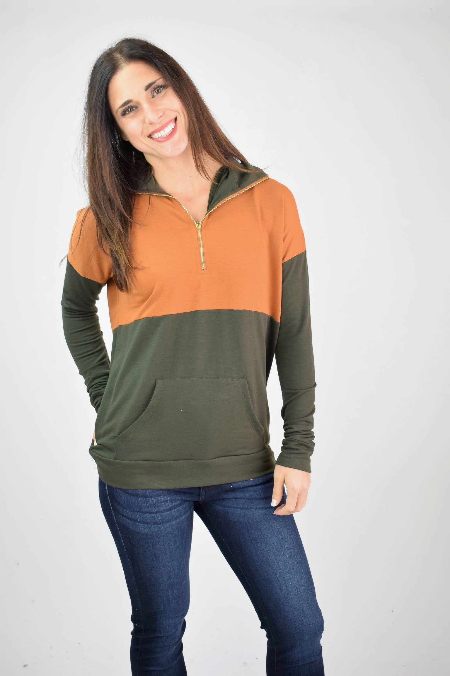 Boundary Lines Two Tone 1/4 Zip Sweatshirt- Camel/Olive