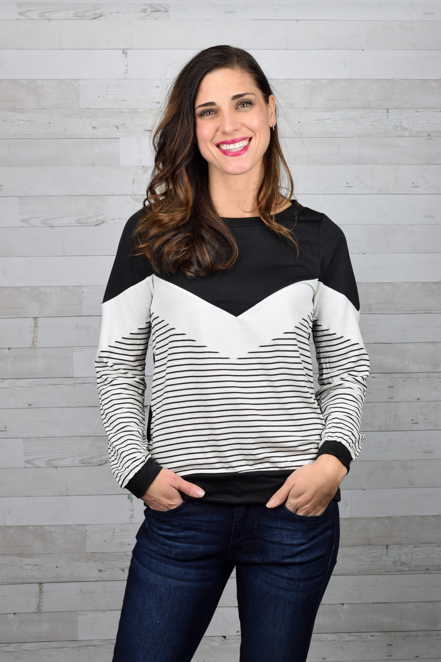 Taking Different Paths Zig Zag & Striped Long Sleeve Top