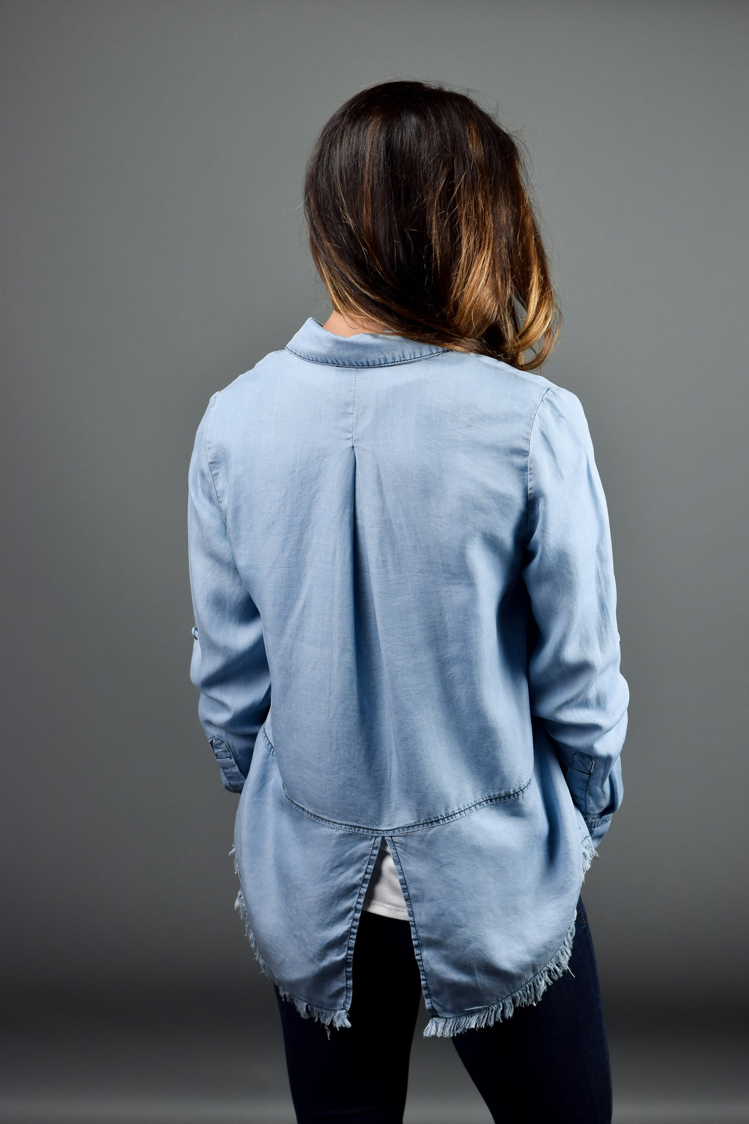 Local Friday Frayed Chambray Long Sleeve Top