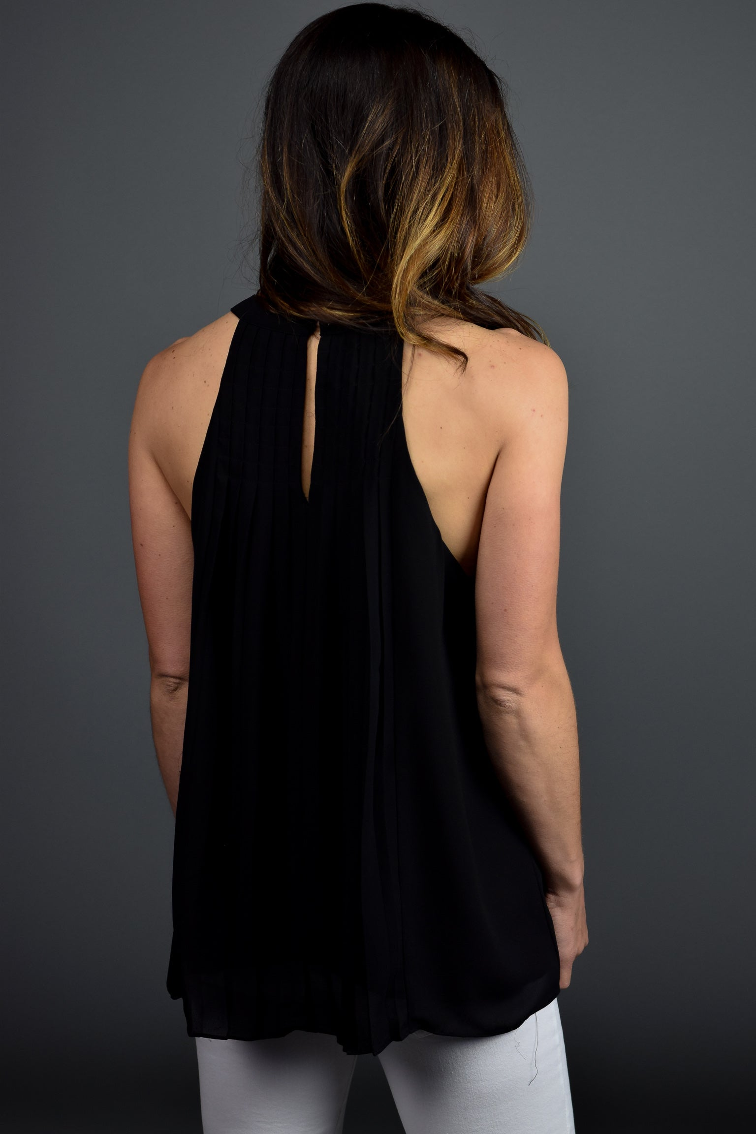 Look To The Sky Black Pleated Tank