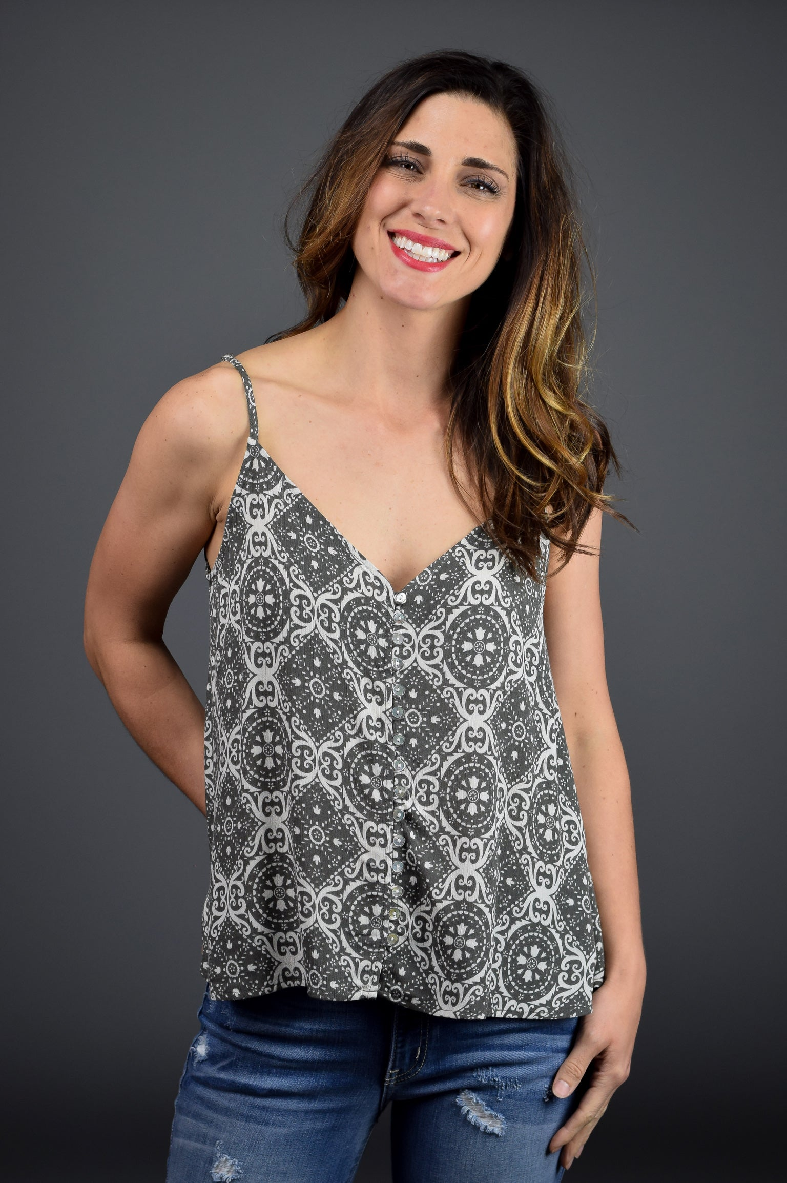 Every Bit of Love Front Button Tank- Olive