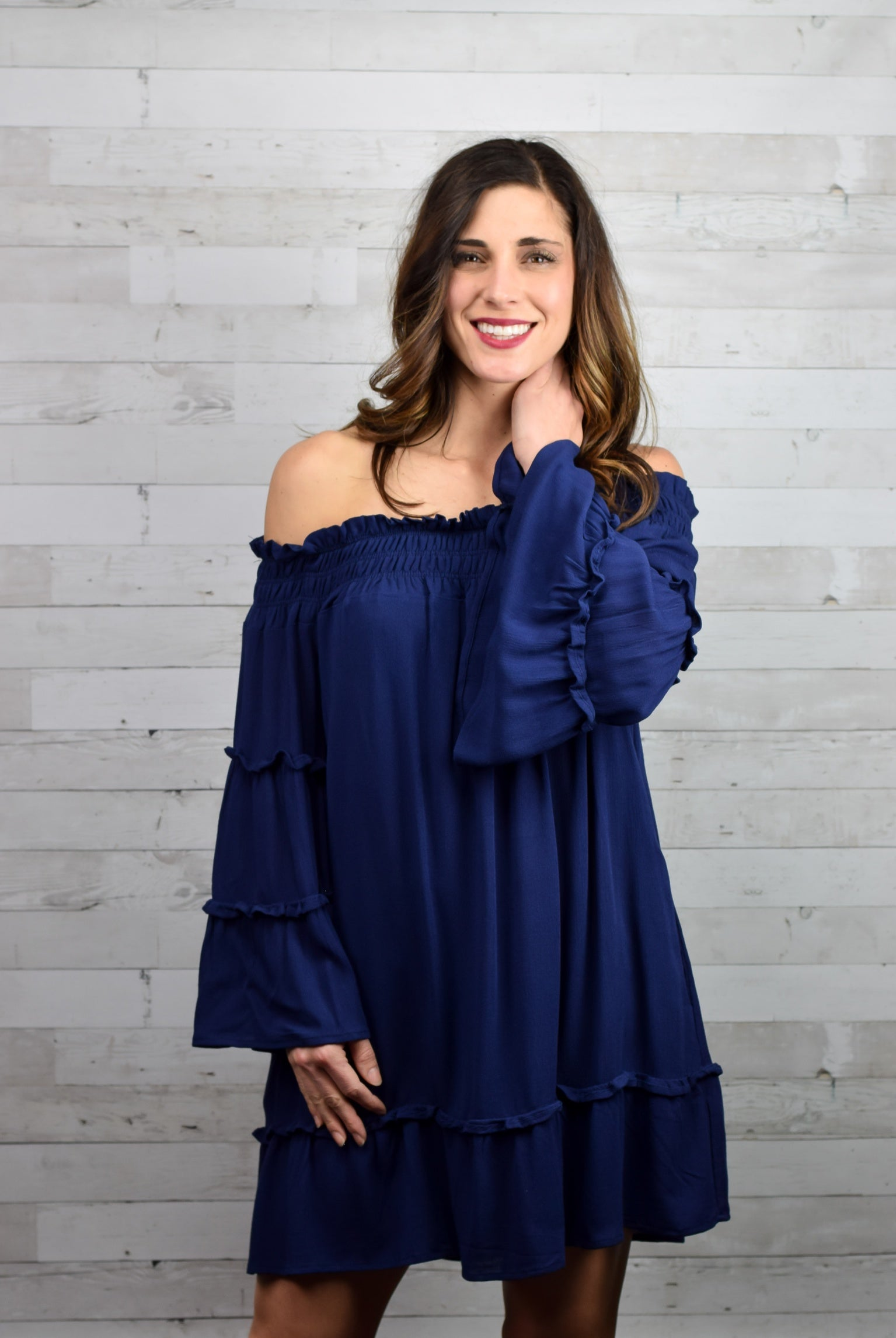 Blue Wave Off Shoulder Dress
