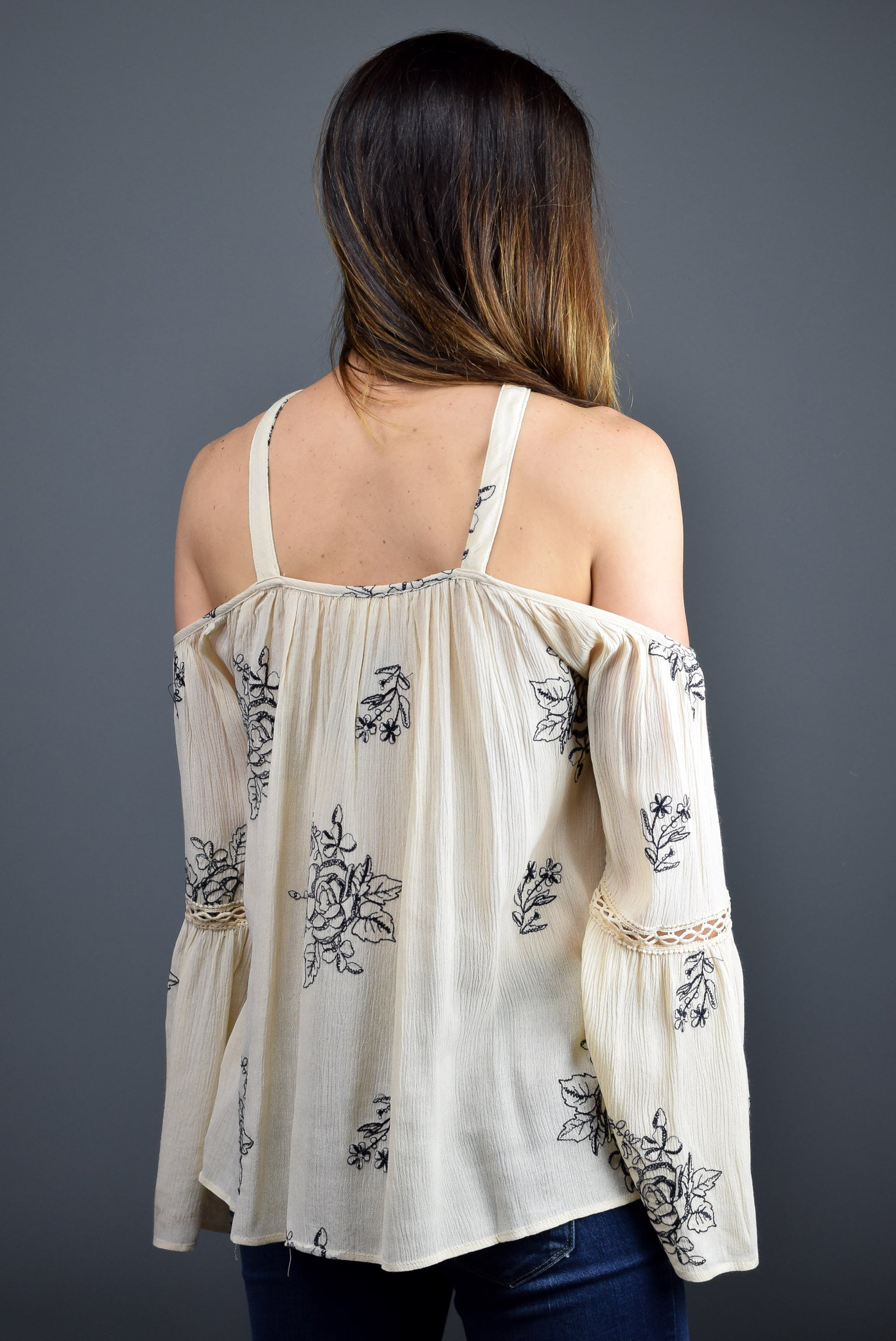 Oh Goodness Embroidered Cold Shoulder Top- Cream