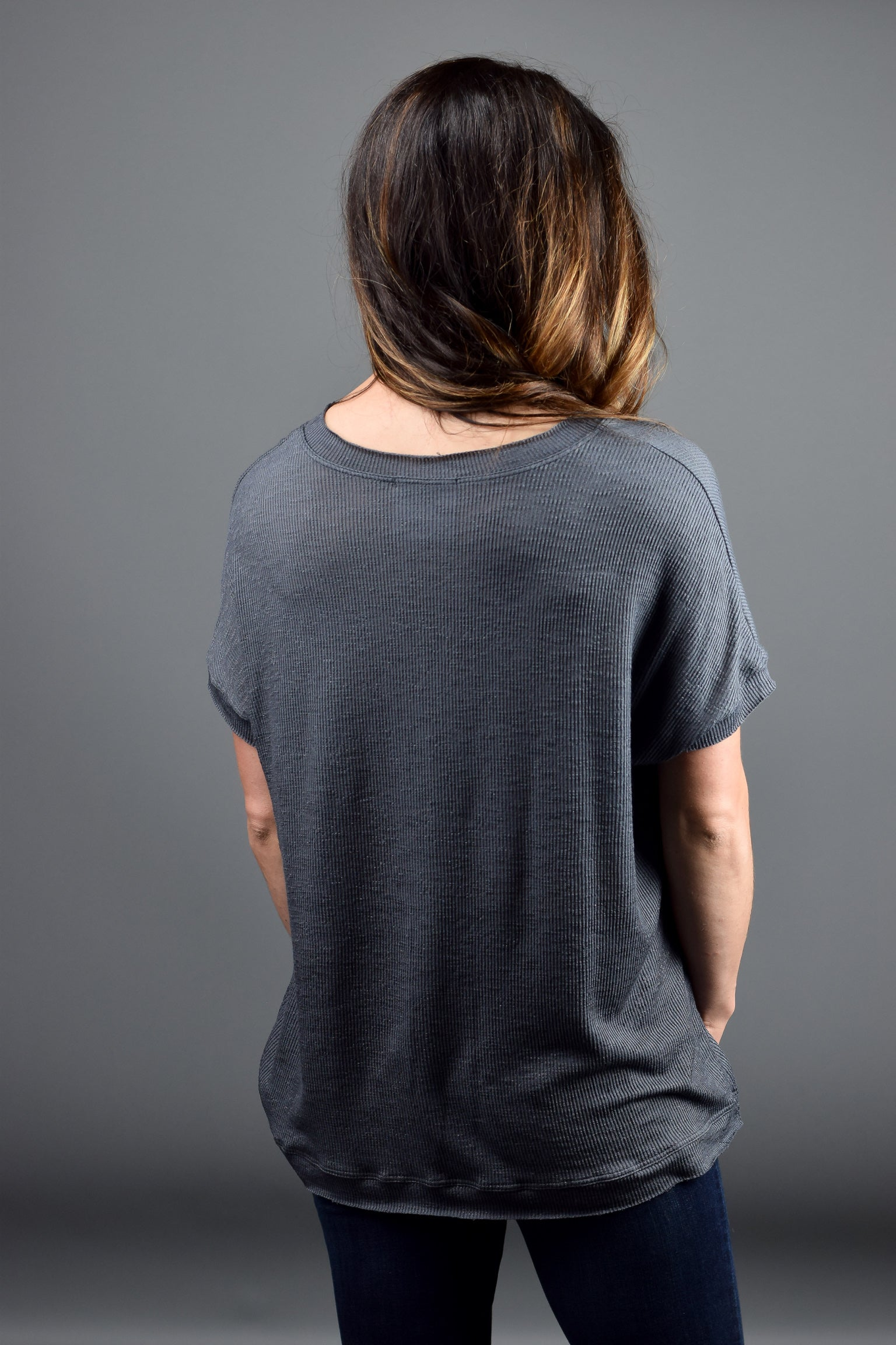Having It All Together Raw Hem Charcoal Tee