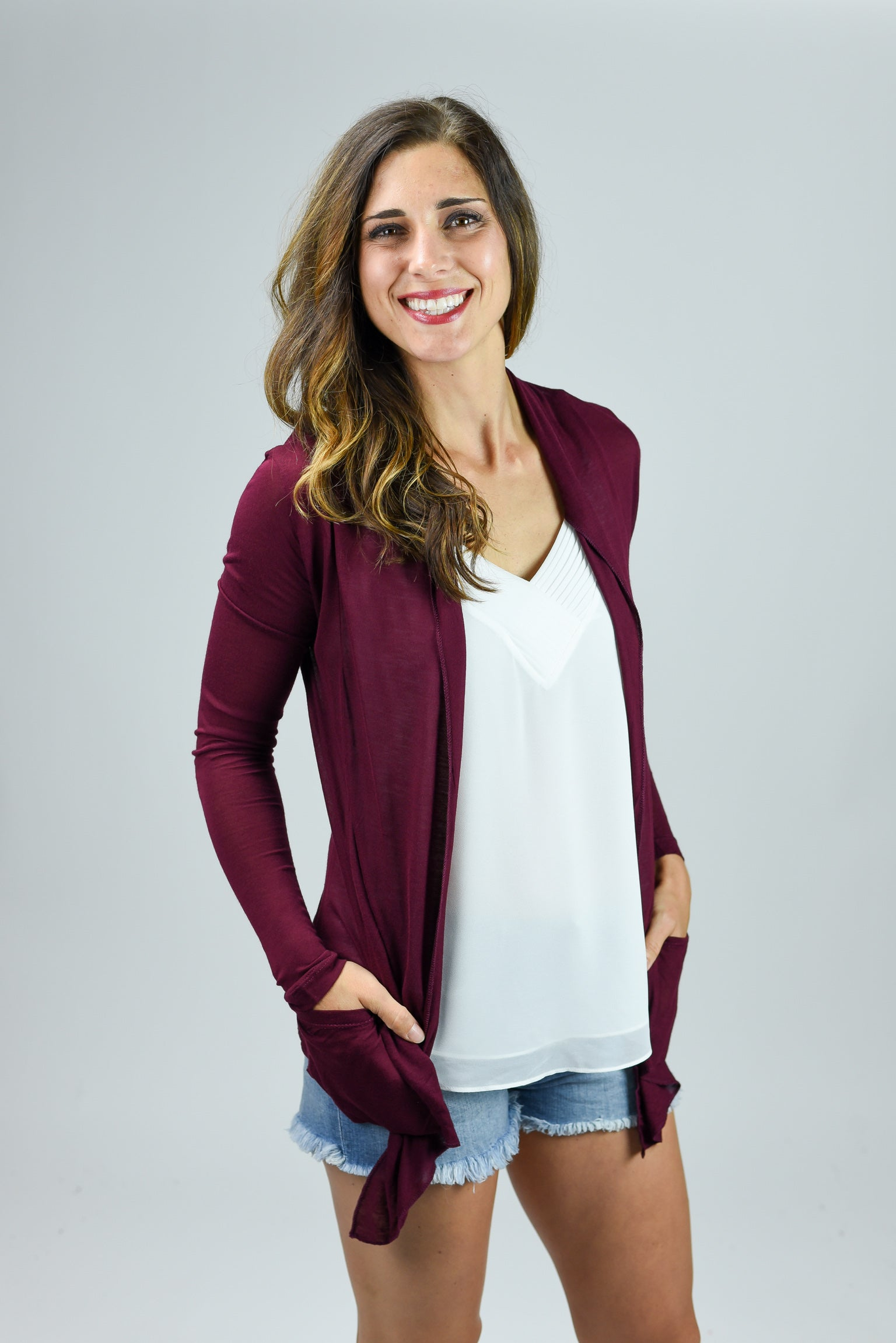 Look At Me Now Lightweight Cardigan- Dark Burgundy