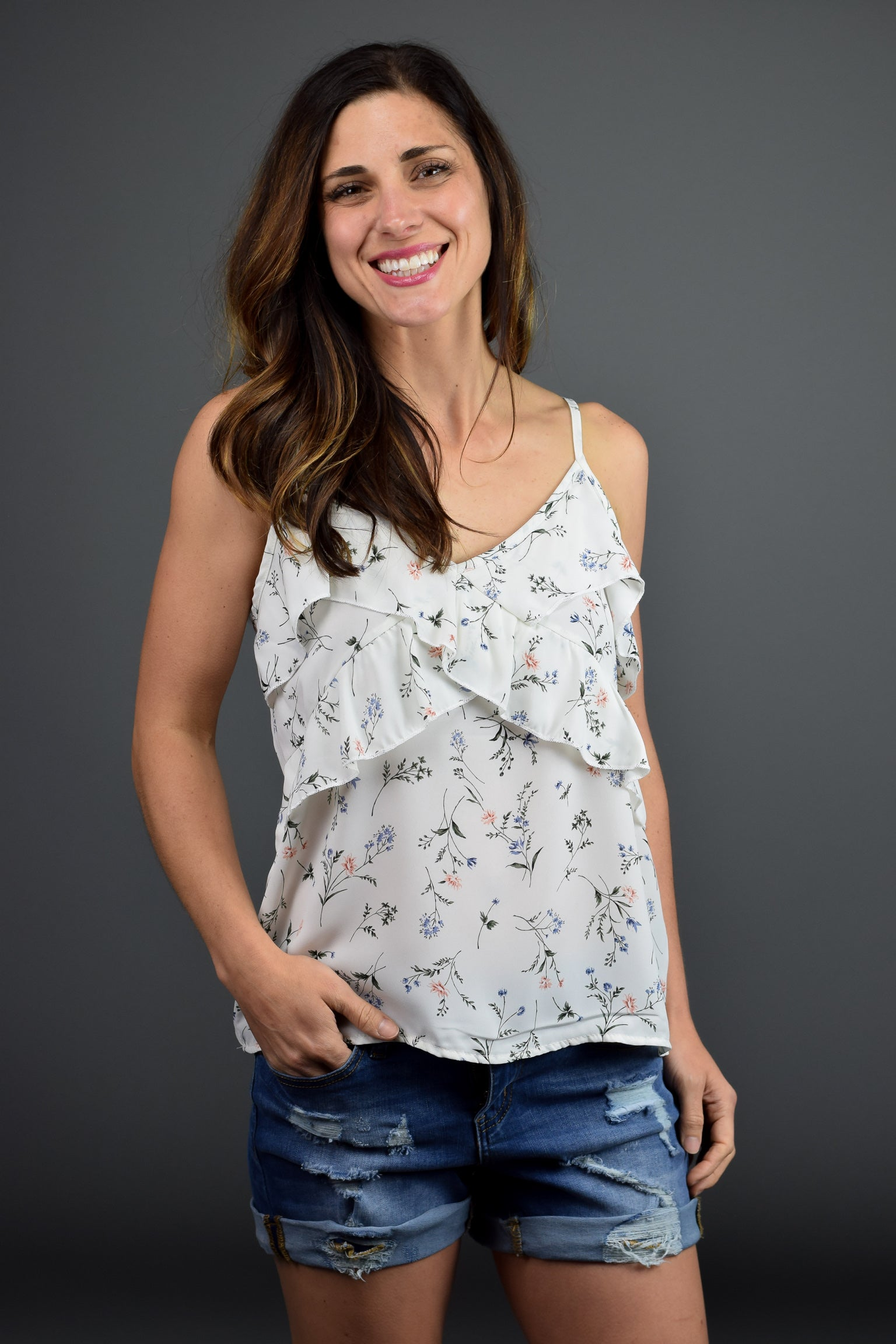 Stunning Vibes Floral Tank- Ivory