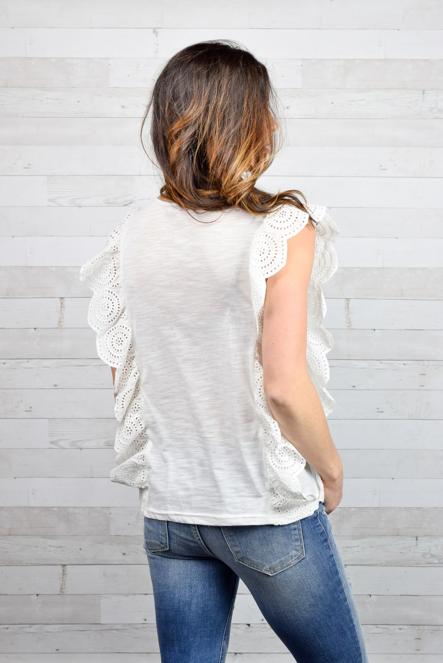 Right Way White Ruffle Tank