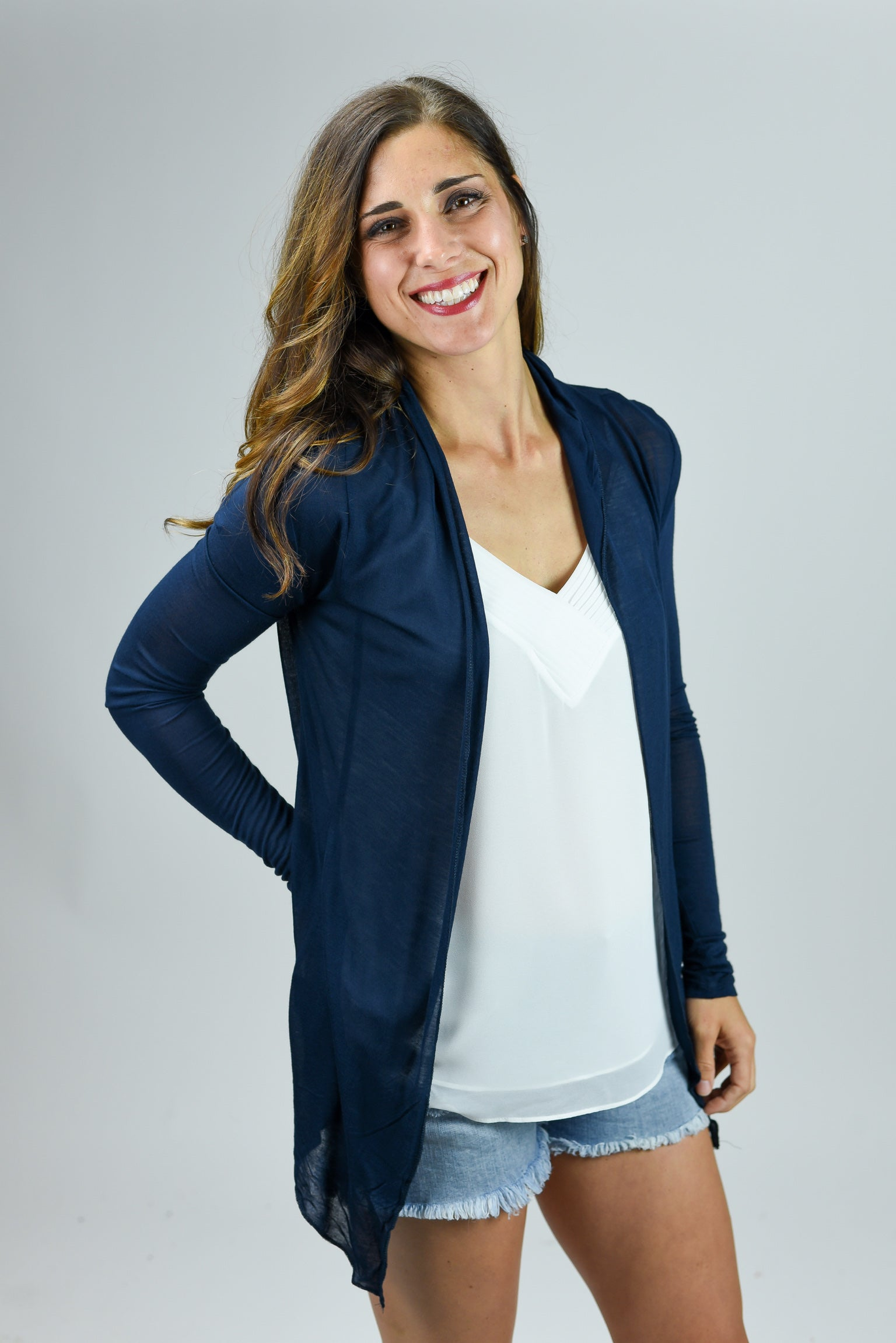 Look At Me Now Lightweight Cardigan- Navy