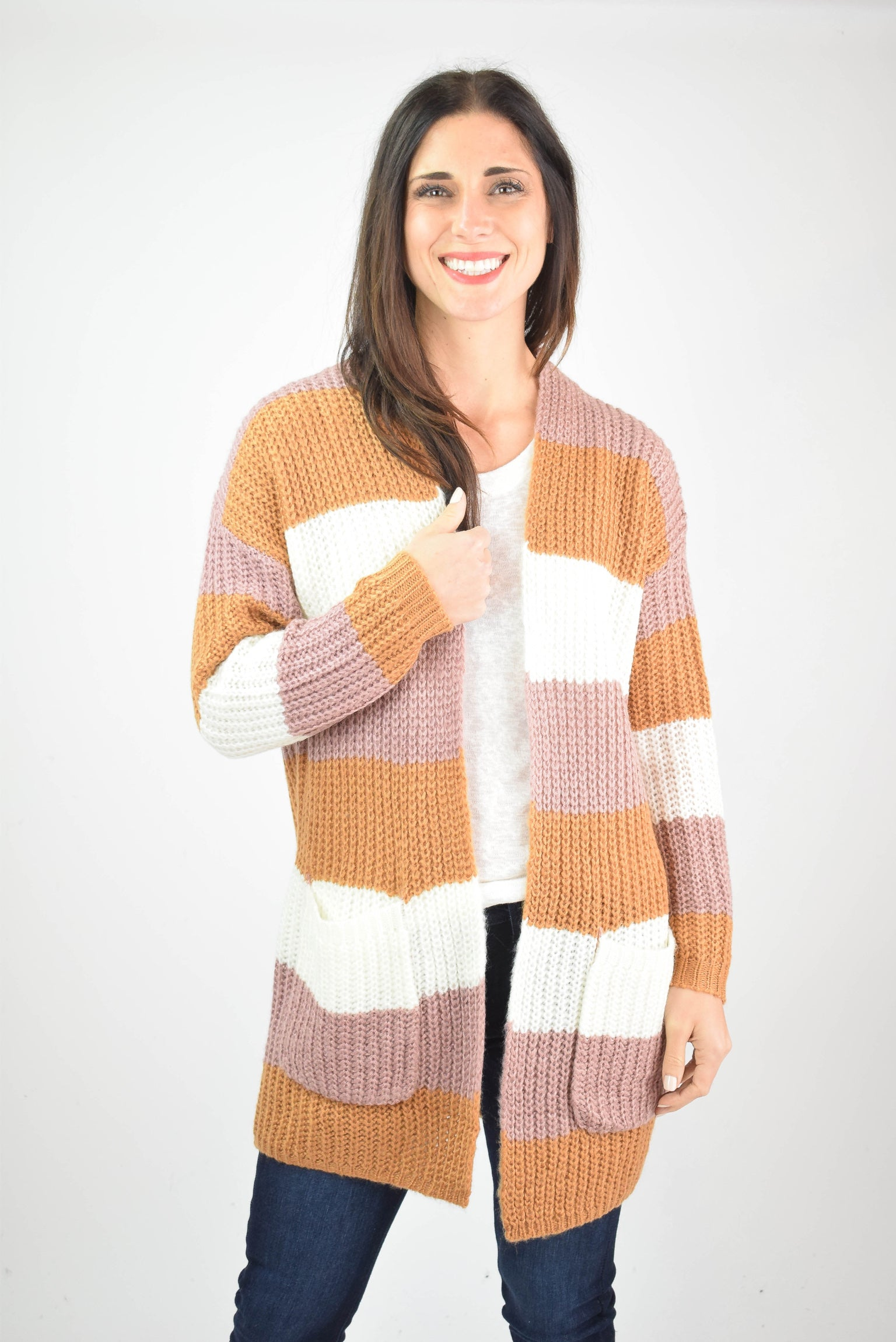 Photo Ready Color Block Cardigan- Pink/Camel/White