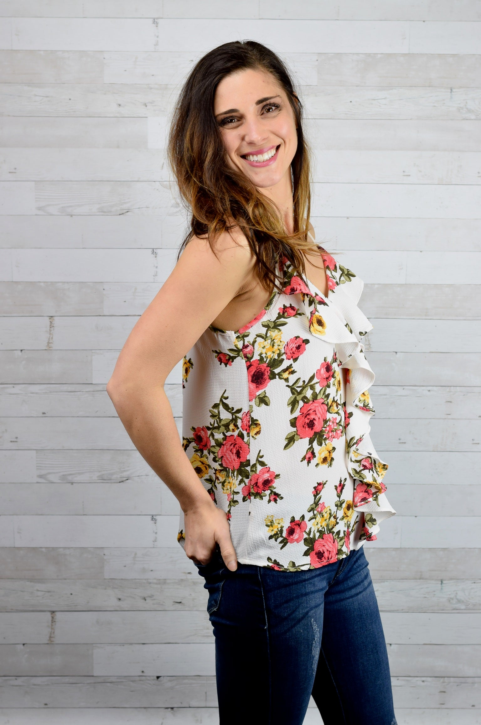 Yours to Keep Floral Ruffle Tank