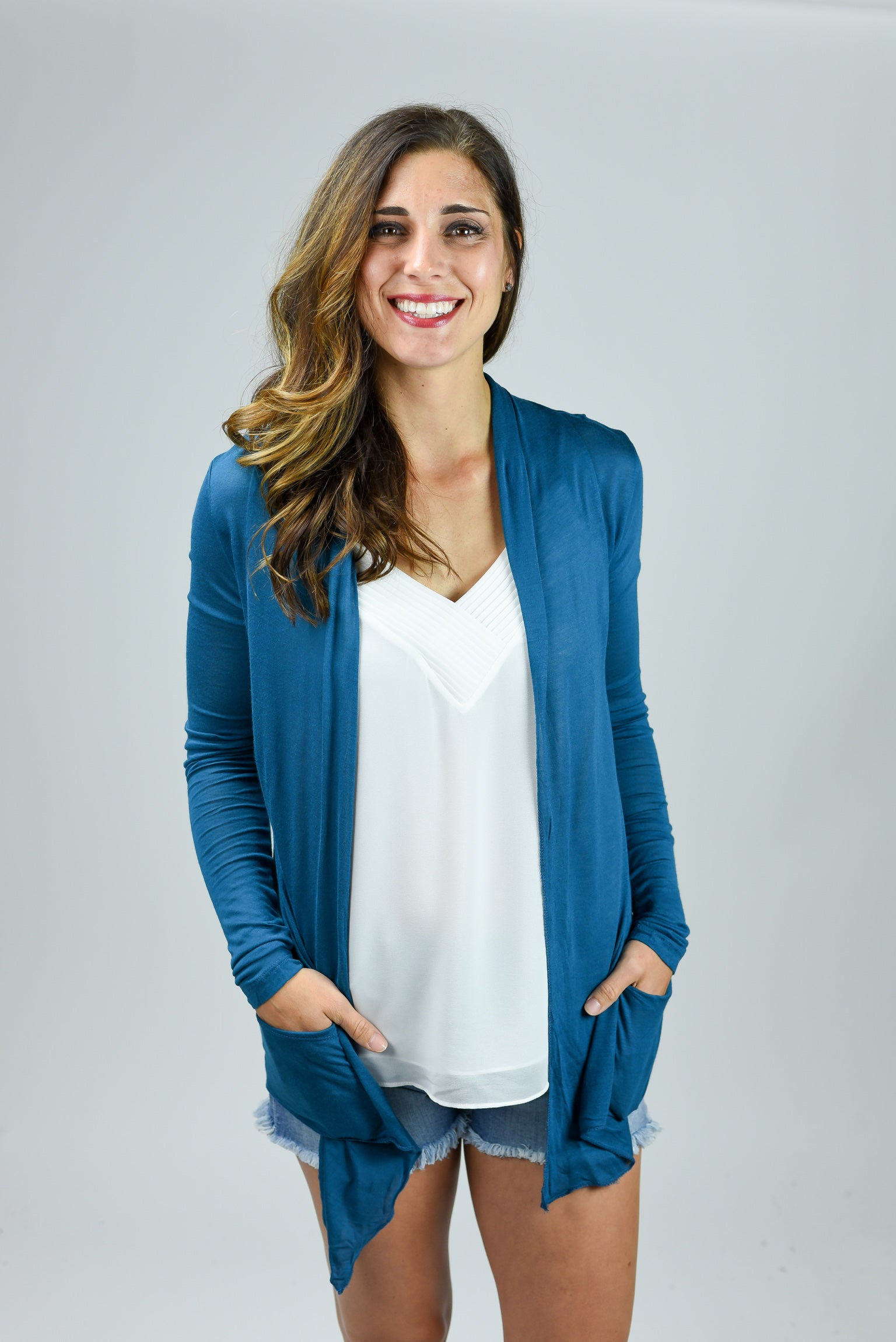 Look At Me Now Lightweight Cardigan- Teal
