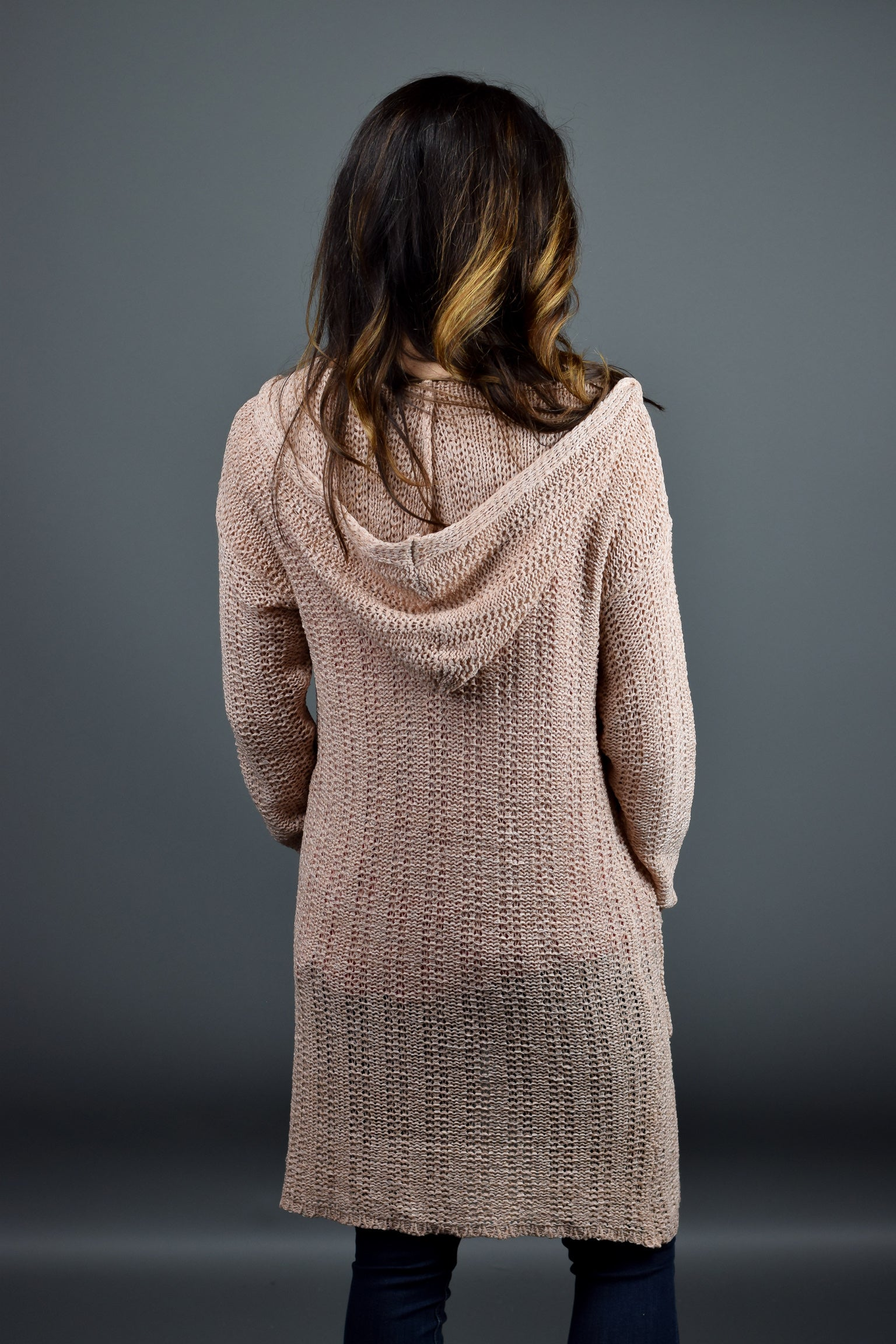 Just Thinking Of You Knit Peach Hooded Cardigan