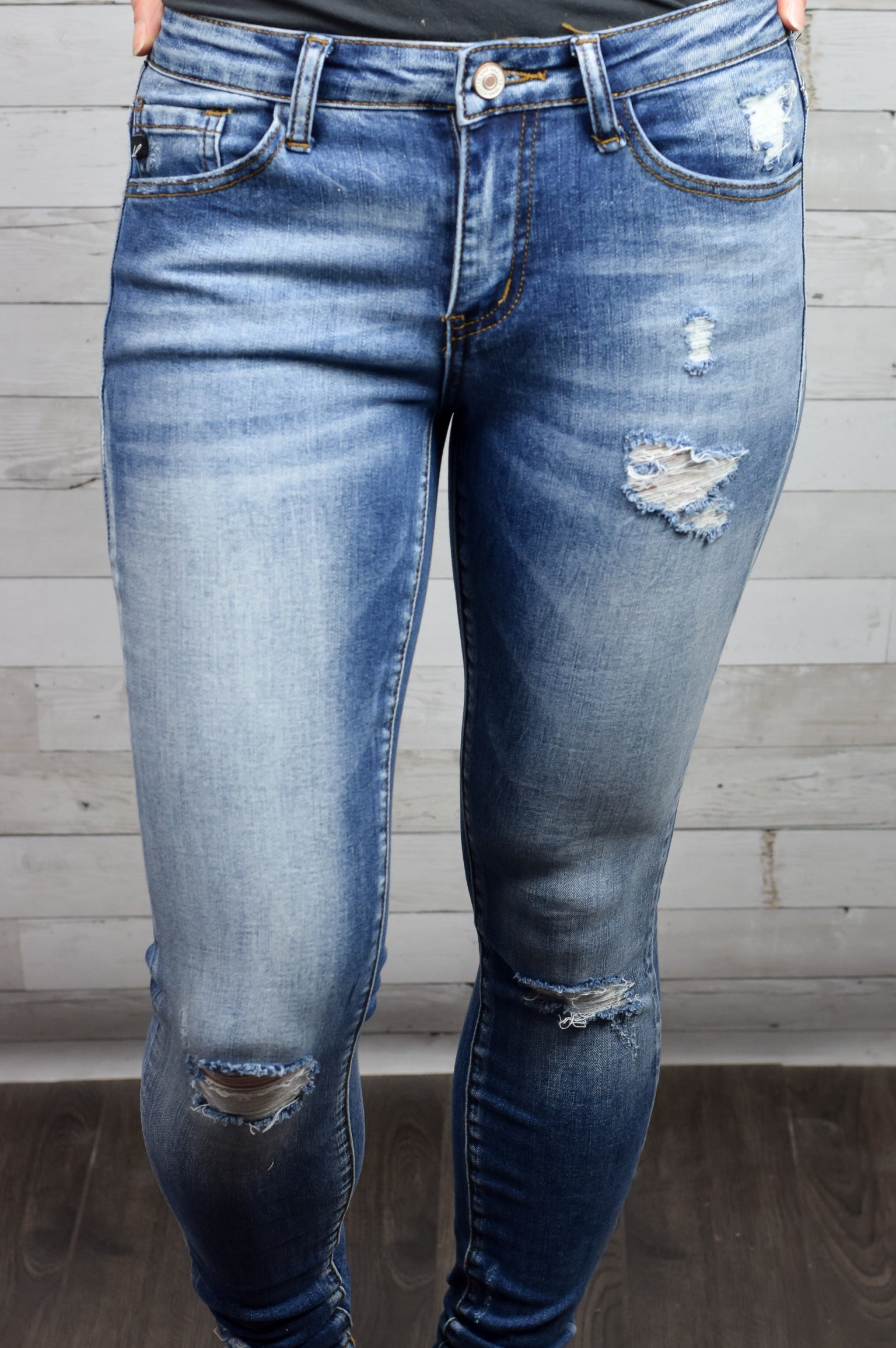 Get Rowdy Distressed Medium Wash Skinny Jeans