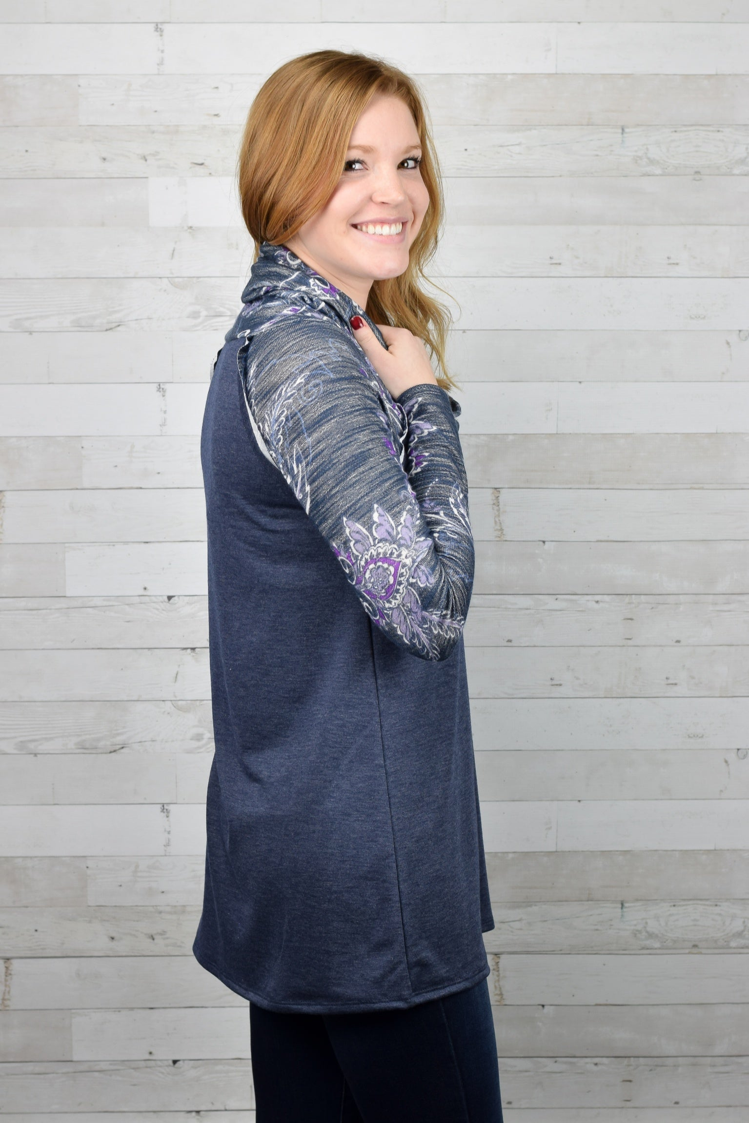 Paisley Print Cowl Neck Long Sleeve Top
