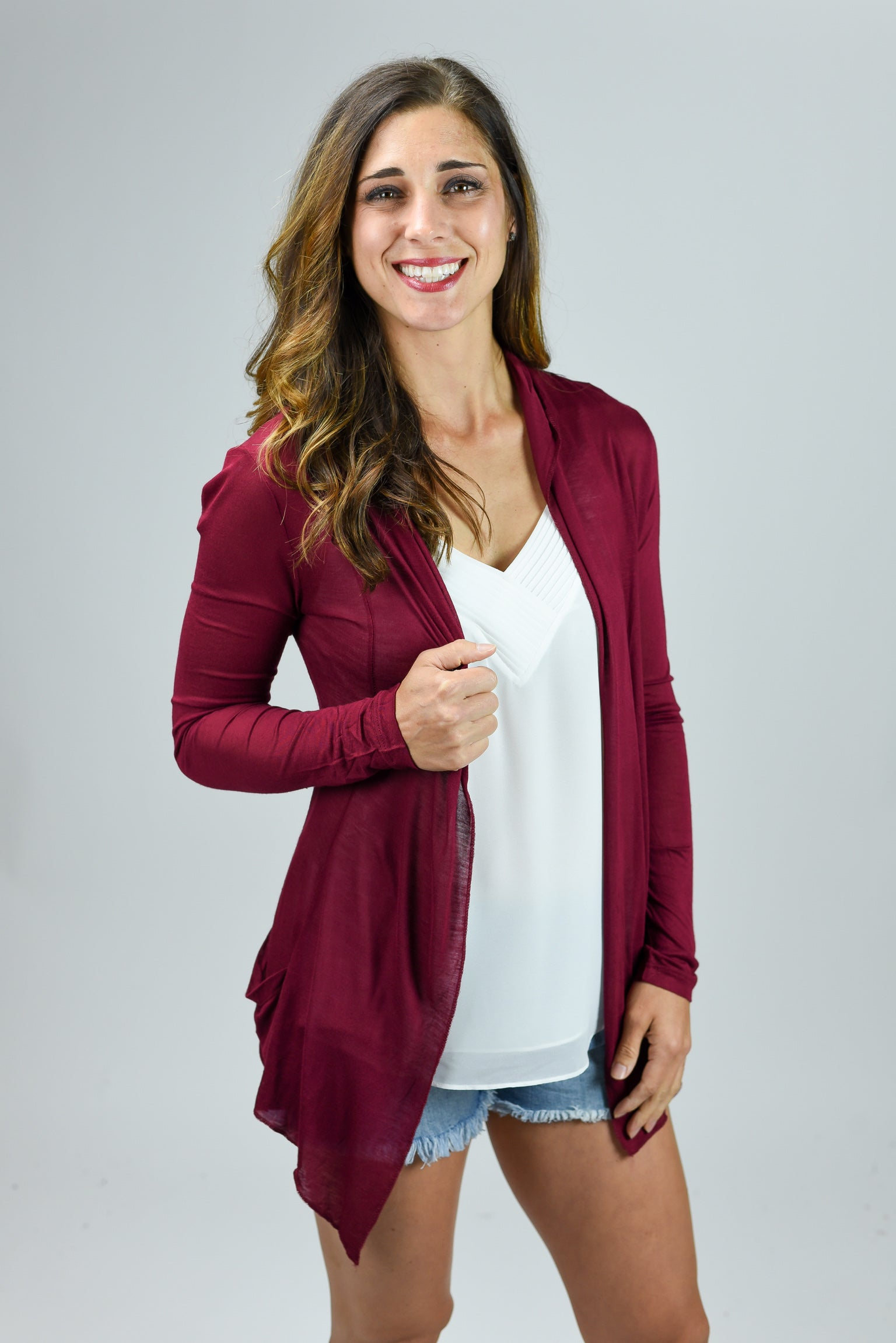 Look At Me Now Lightweight Cardigan- Cabernet