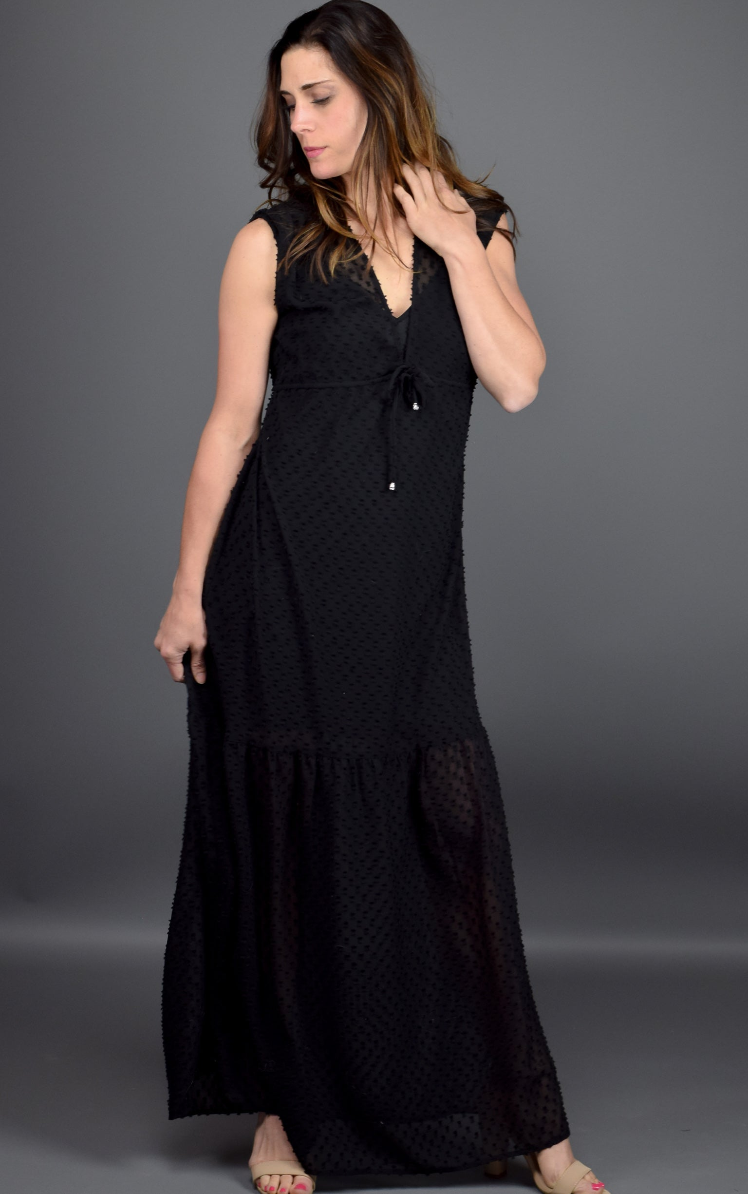 Time To Shine Black Chiffon Dot Maxi Dress