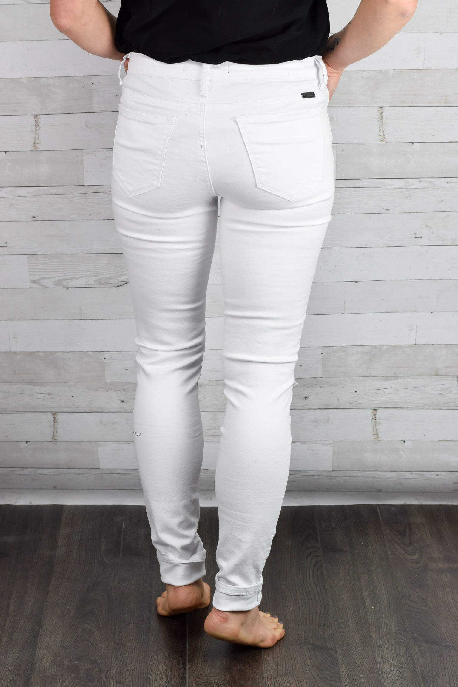 Moving On Knee Slit White Denim Skinnies