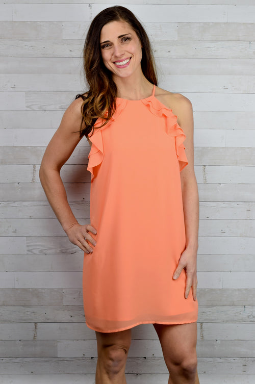 Meaning of Life Ruffle Grapefruit Dress