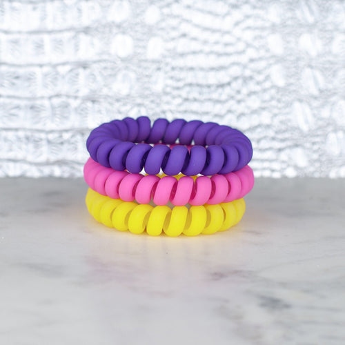 Flower Power Matte Hotline Hair Tie Set