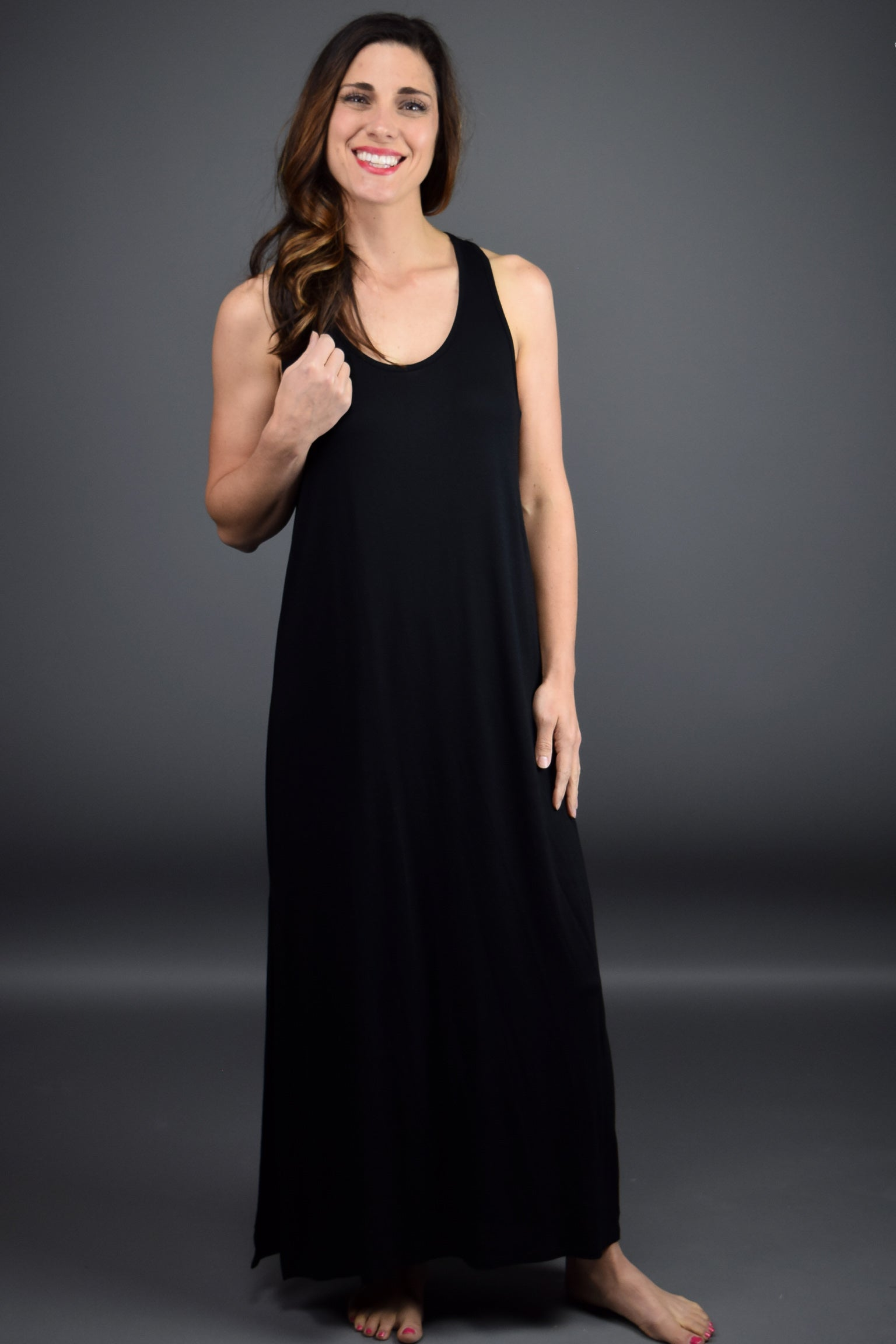 Market Stroll Racerback Maxi Dress - Black