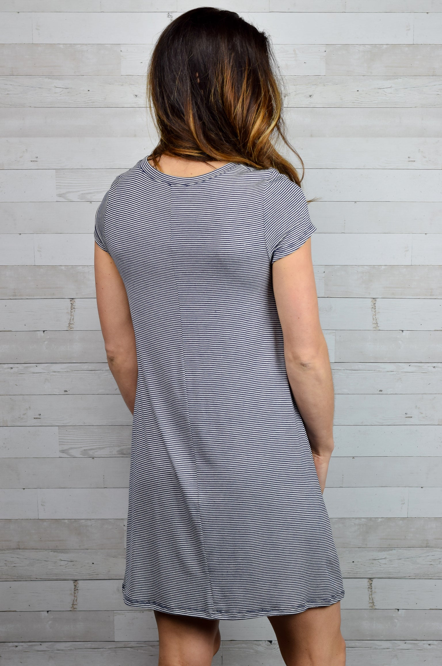 Any Other Day Tshirt Dress - Navy and Grey