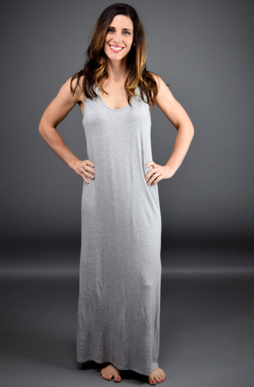 Market Stroll Racerback Maxi Dress- Heather Grey