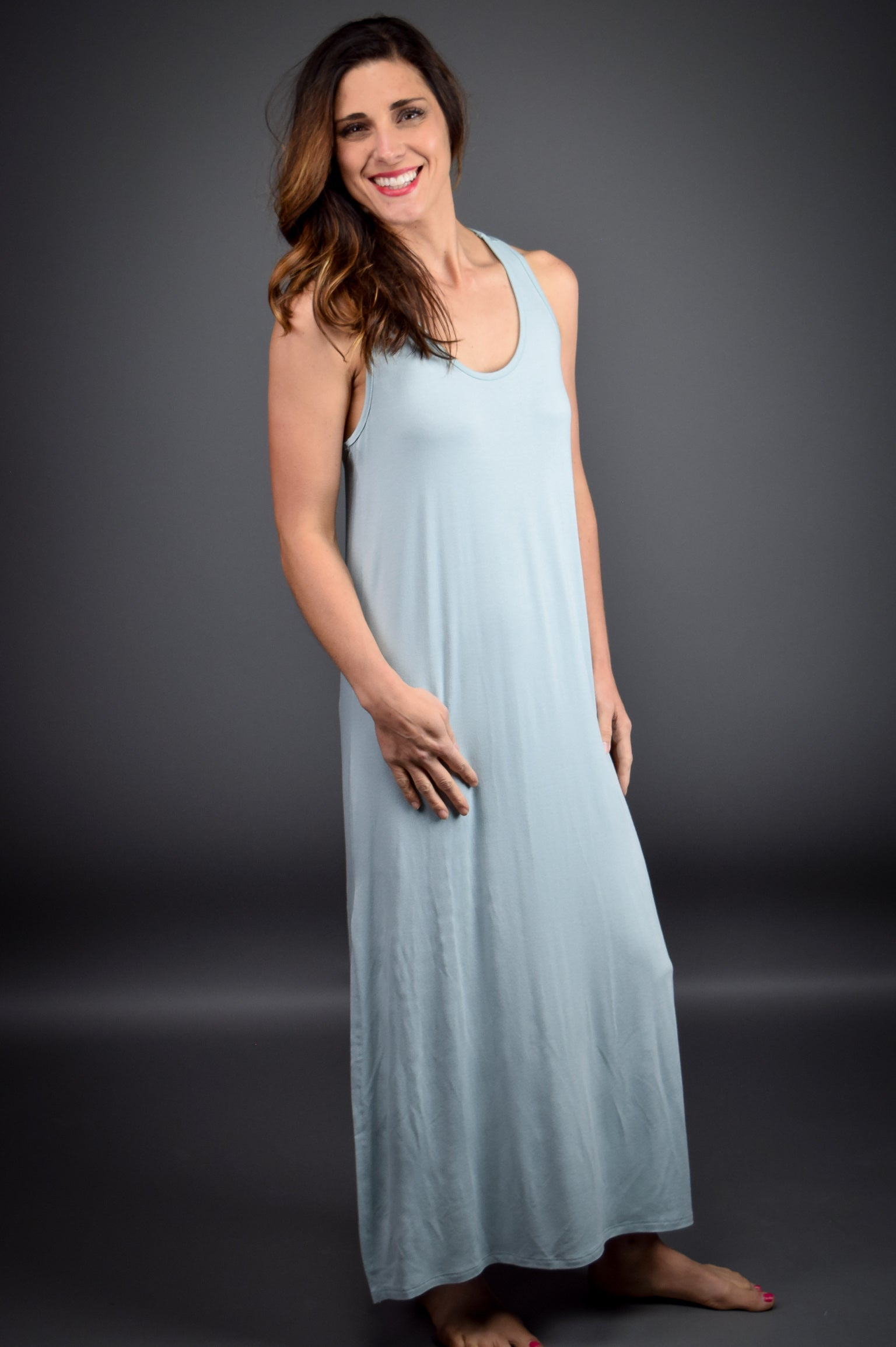 Market Stroll Racerback Maxi Dress- Light Blue