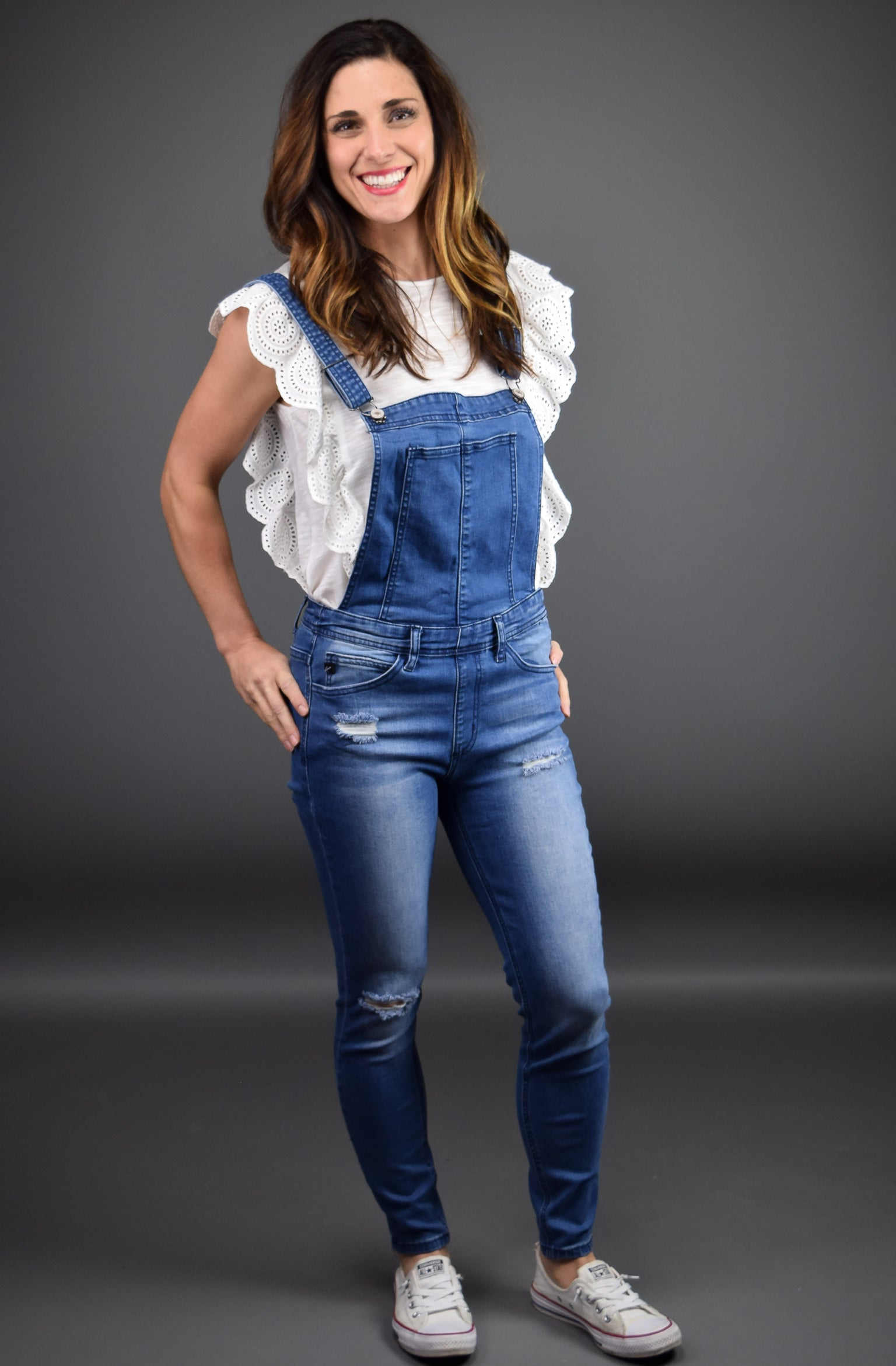Really Blow My Mind Medium Wash Skinny Bib Overalls