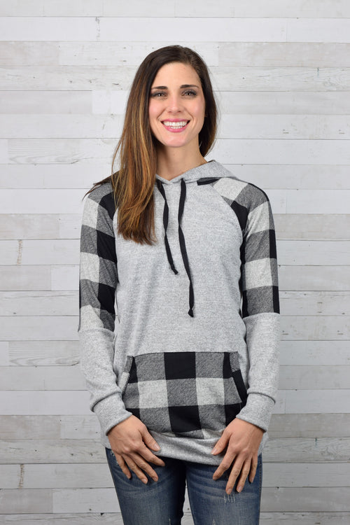 Calling The Shots Plaid Insert Hoodie