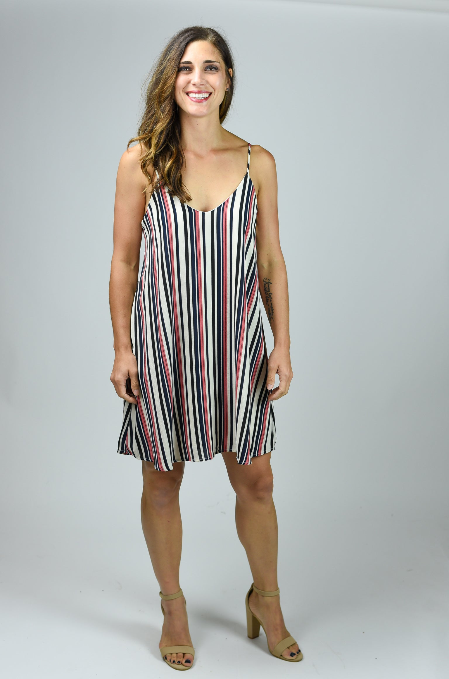 Stir Up The Crowd Stripe Dress- Mauve & Navy