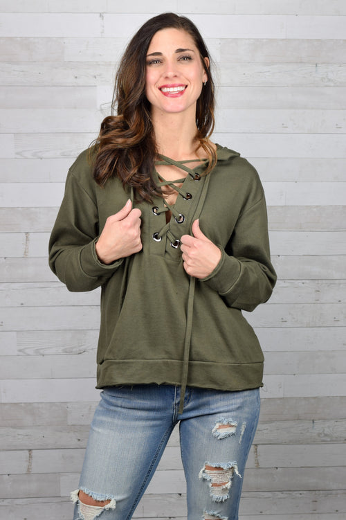 Young Love Lace Up Hoodie- Olive