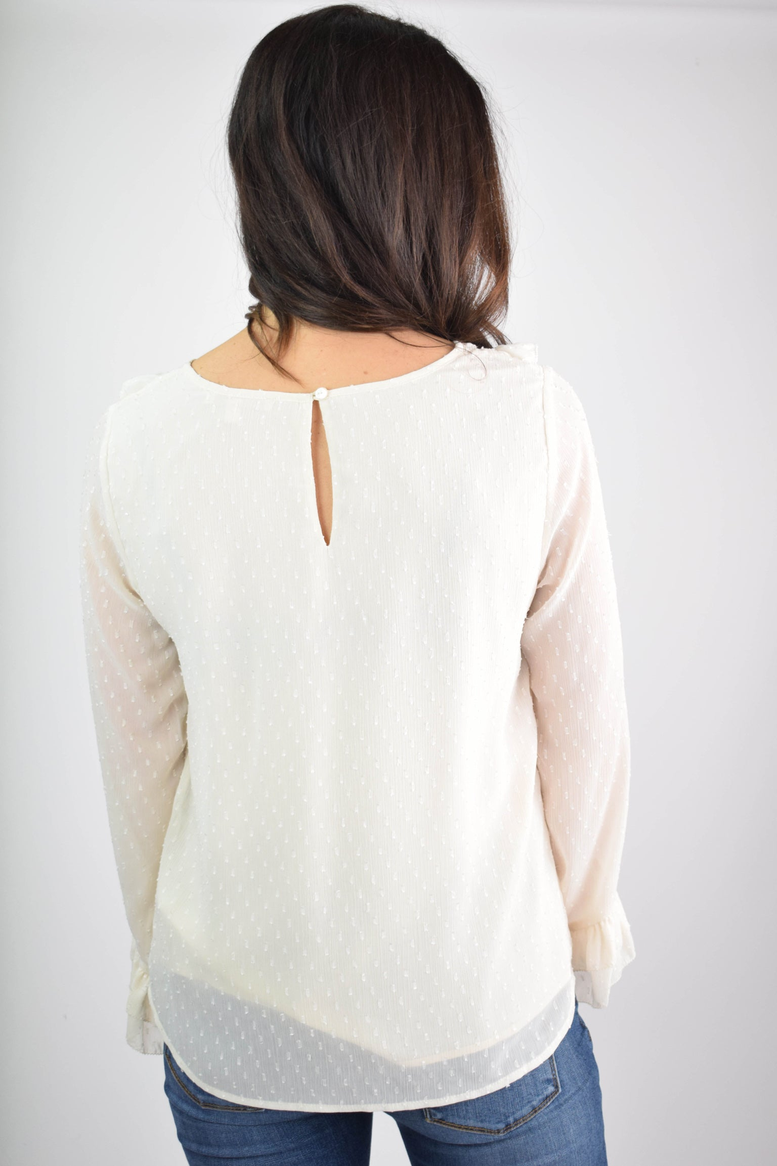 Falling Snow Ivory Dotted Sheer Sleeve Blouse