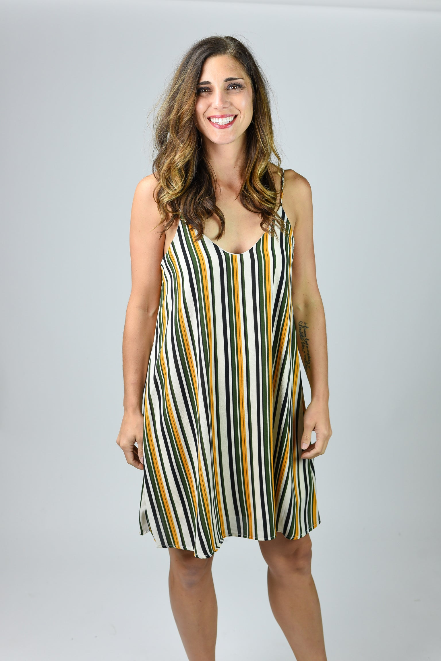 Stir Up The Crowd Stripe Dress- Olive & Mustard