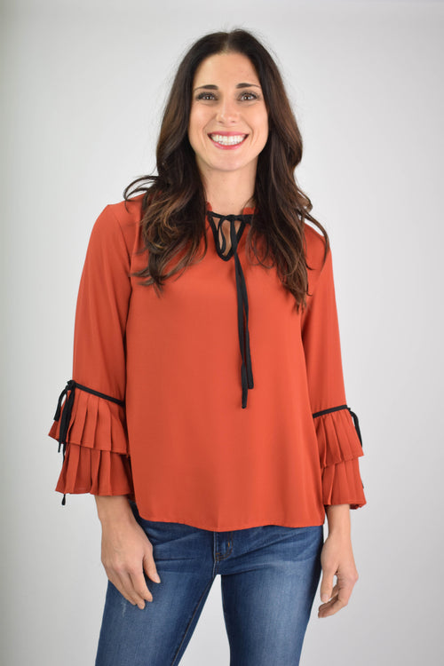 Rich In Love Rust Long Sleeve Blouse