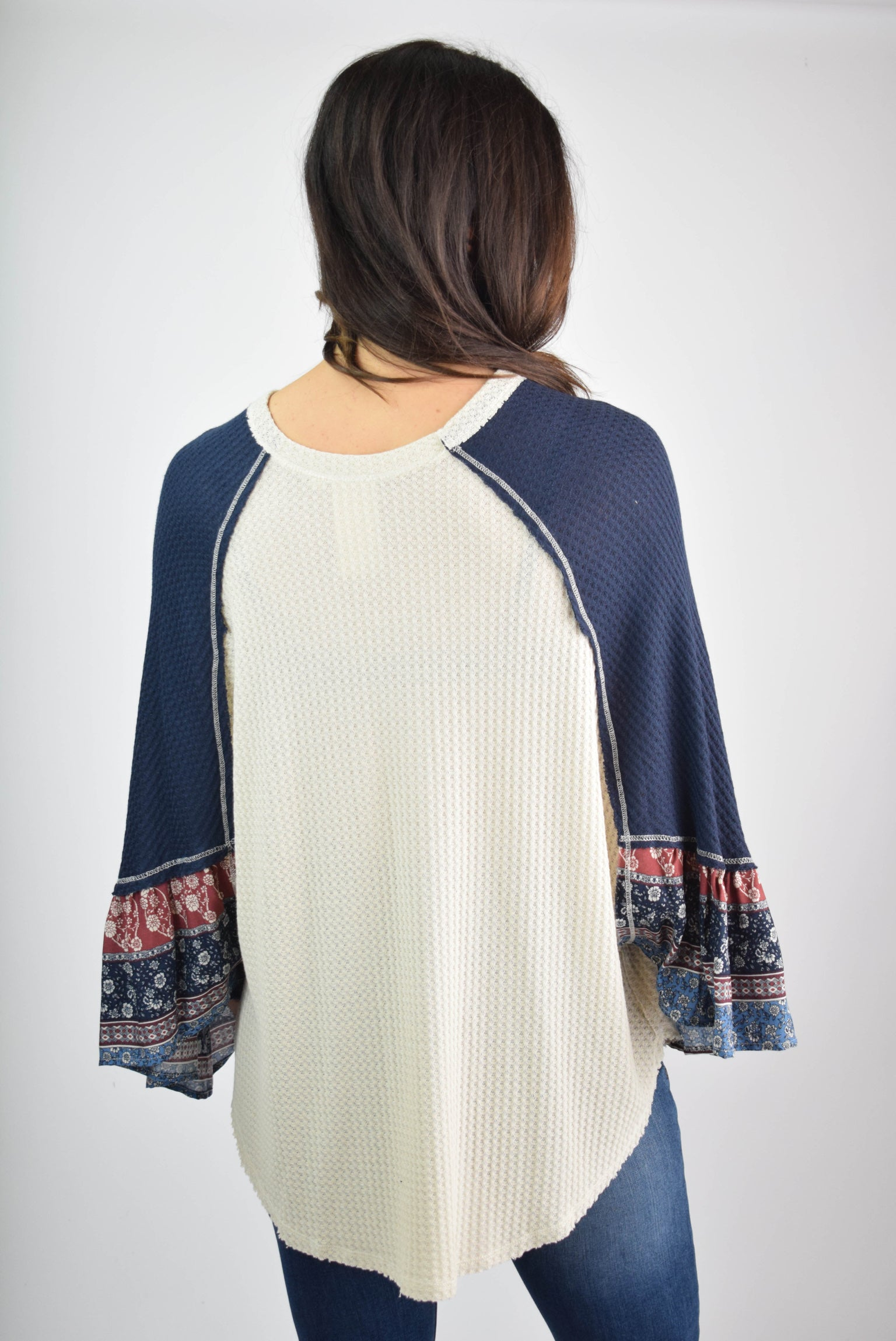 Playful Gatherings Cream Top With Navy Pattern Sleeve