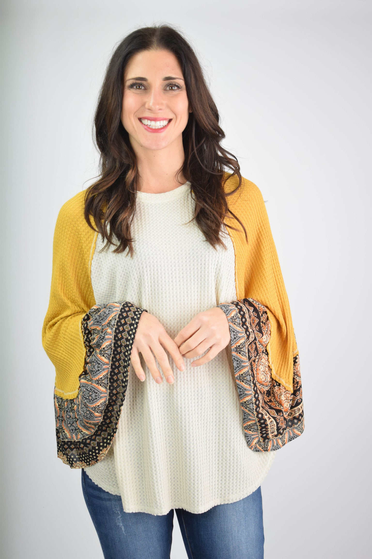 Playful Gatherings Cream Top With Mustard Pattern Sleeve