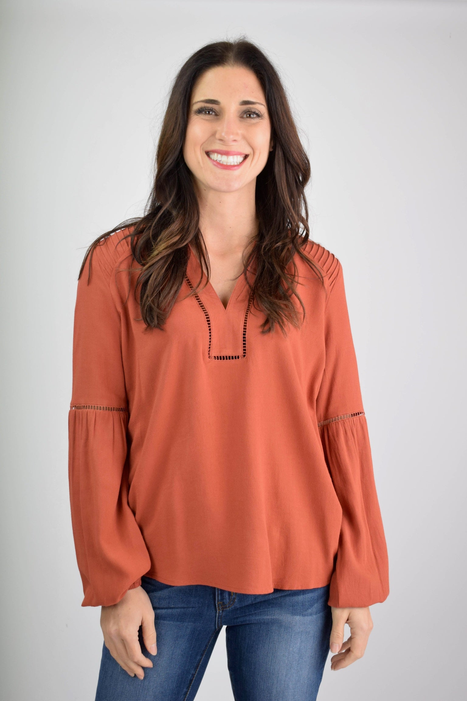 In Charge Detailed V Neck Top- Rust