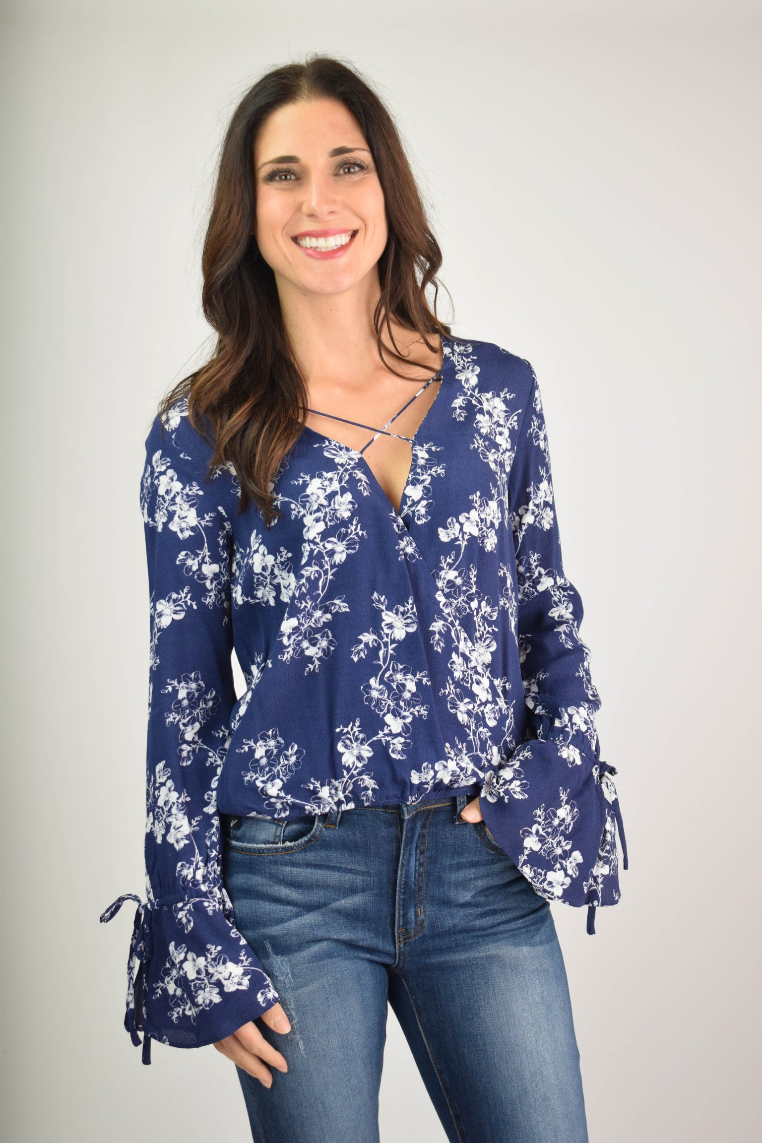 Revolving Beauty Navy Criss Cross Drape Long Sleeve Blouse