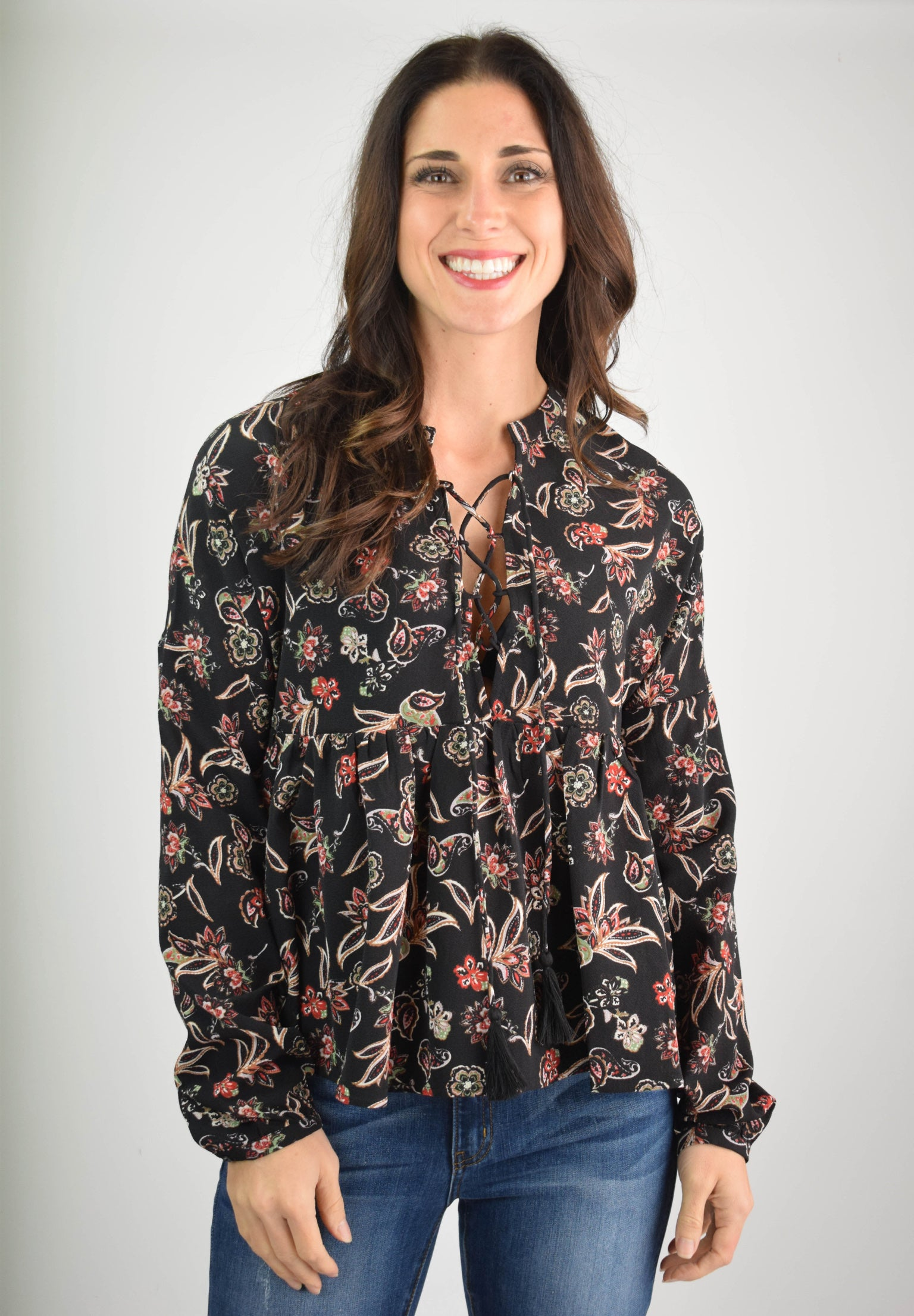 In The Midst Of Everything Black Floral Blouse