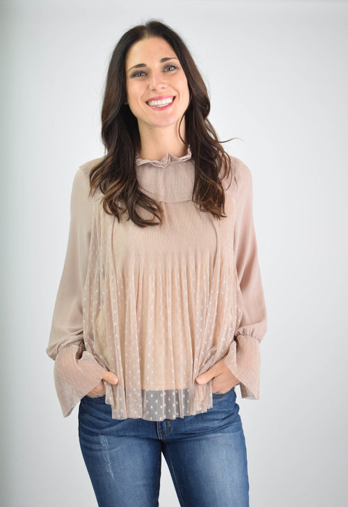 Great Minds Think Alike Taupe Lace Blouse