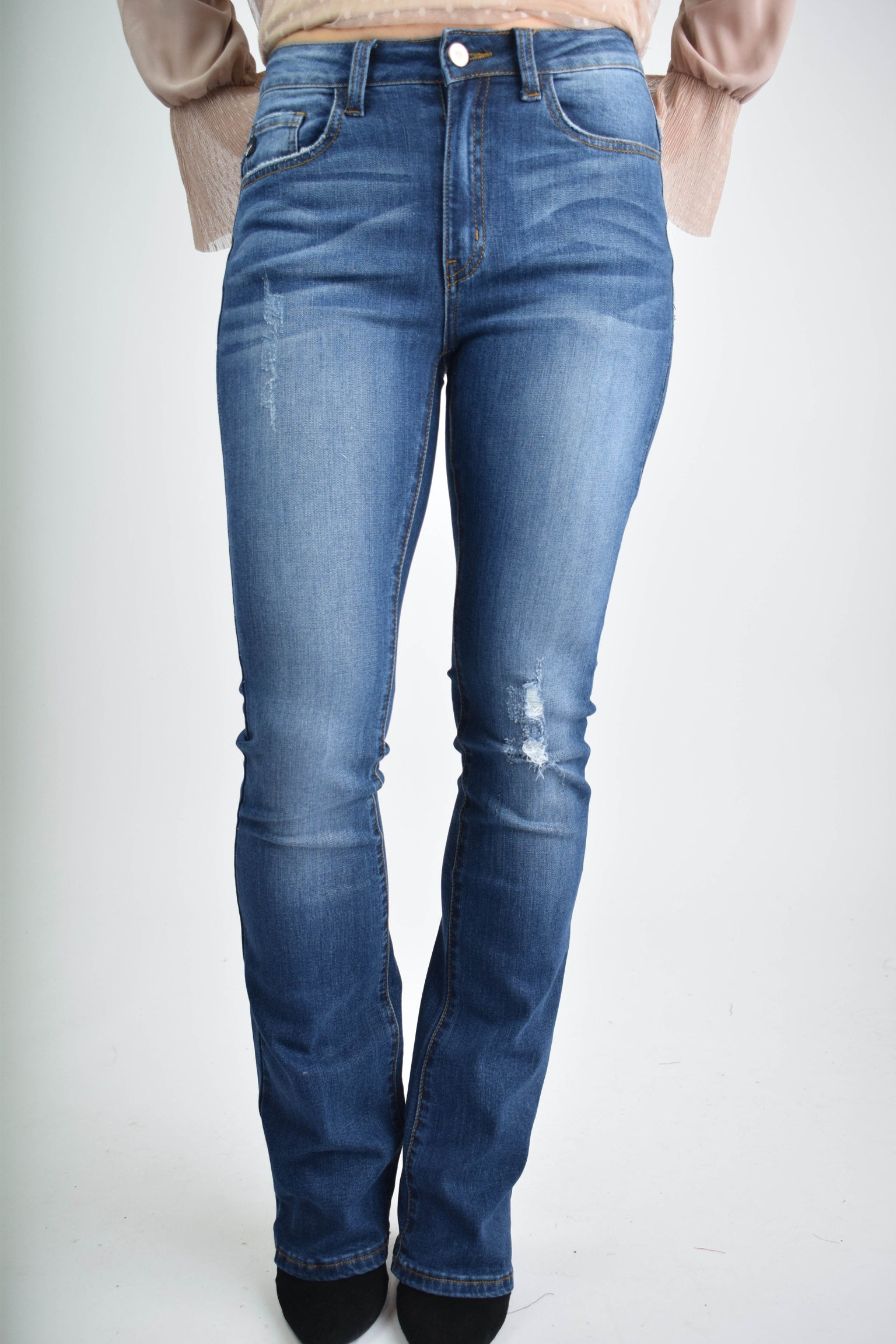 Taste of Paradise Sightly Distressed Bootcut Jeans