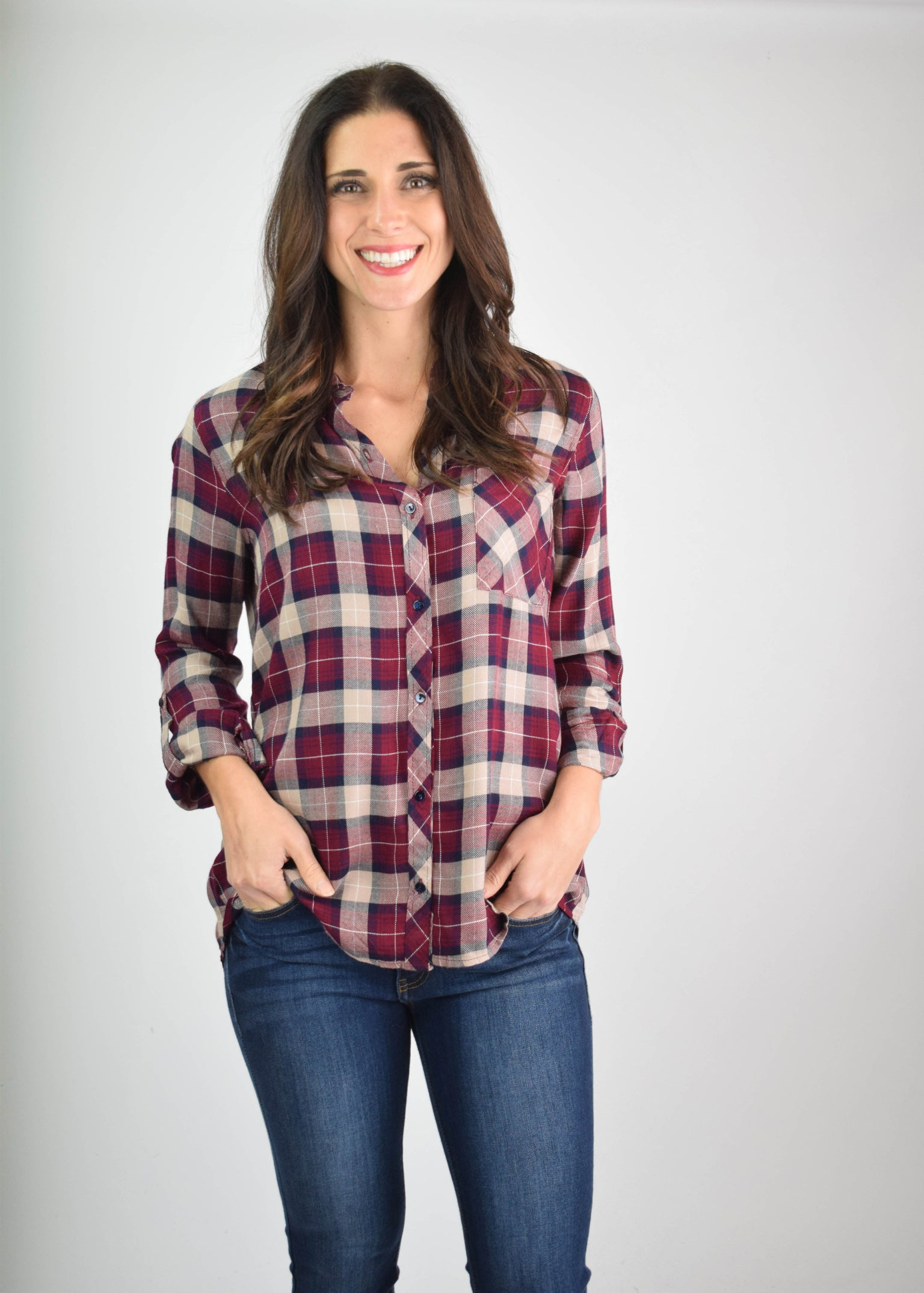 Broke My Heart Burgundy & Navy Plaid Button Down Long Sleeve