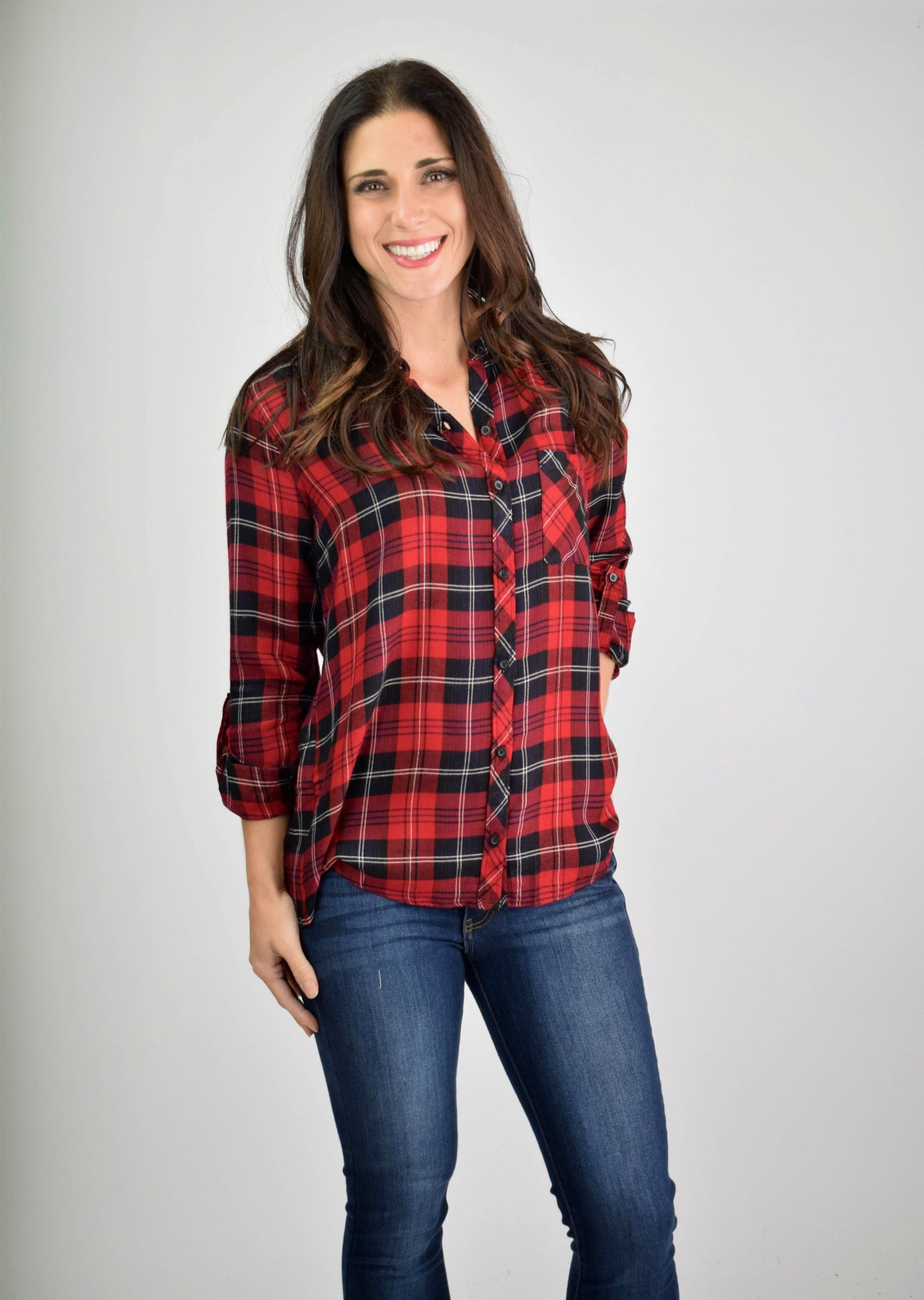 Friends Zone Red and Black Plaid Button Down Long Sleeve Top