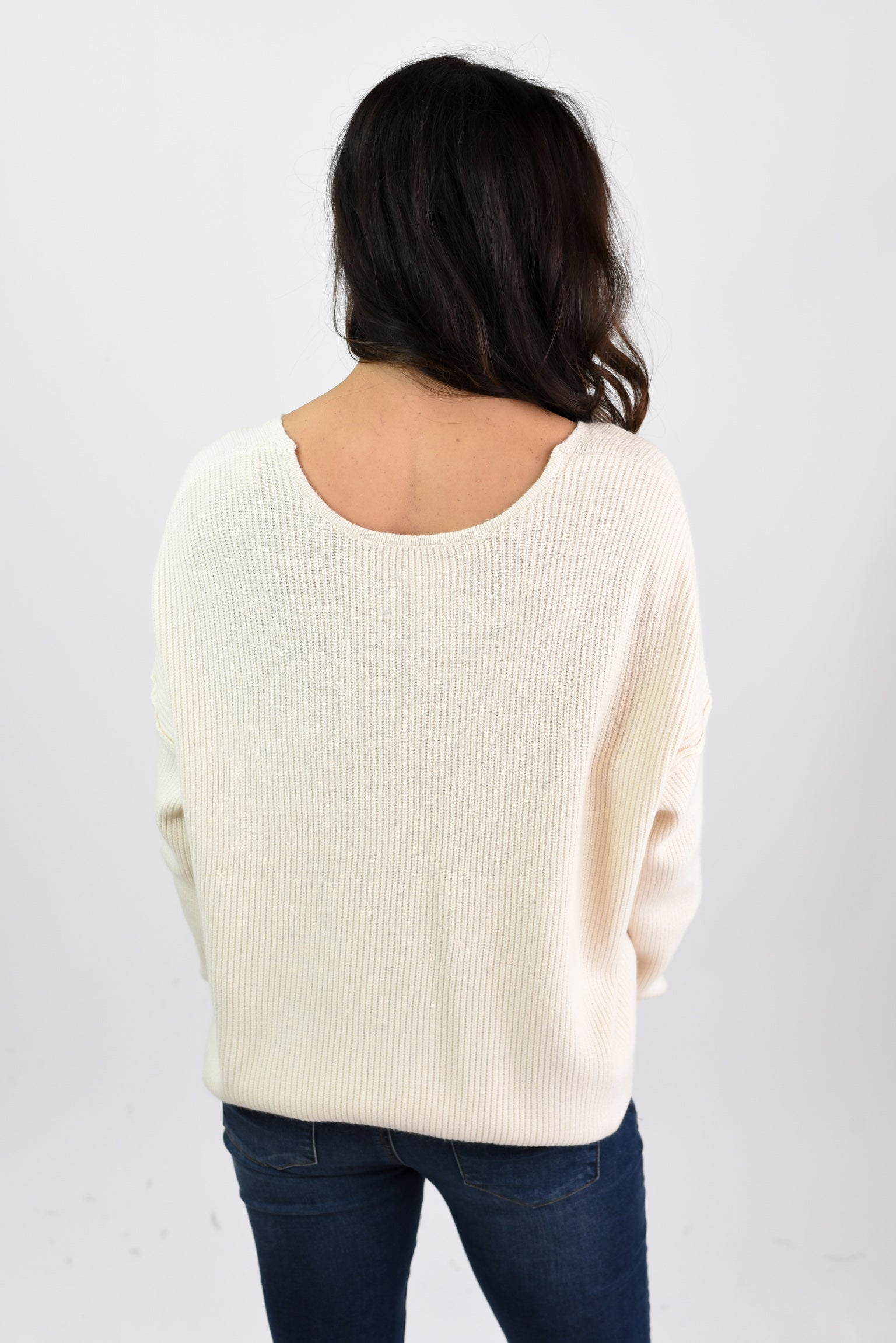 Don't Make Me Wait Ivory Button Down Sweater
