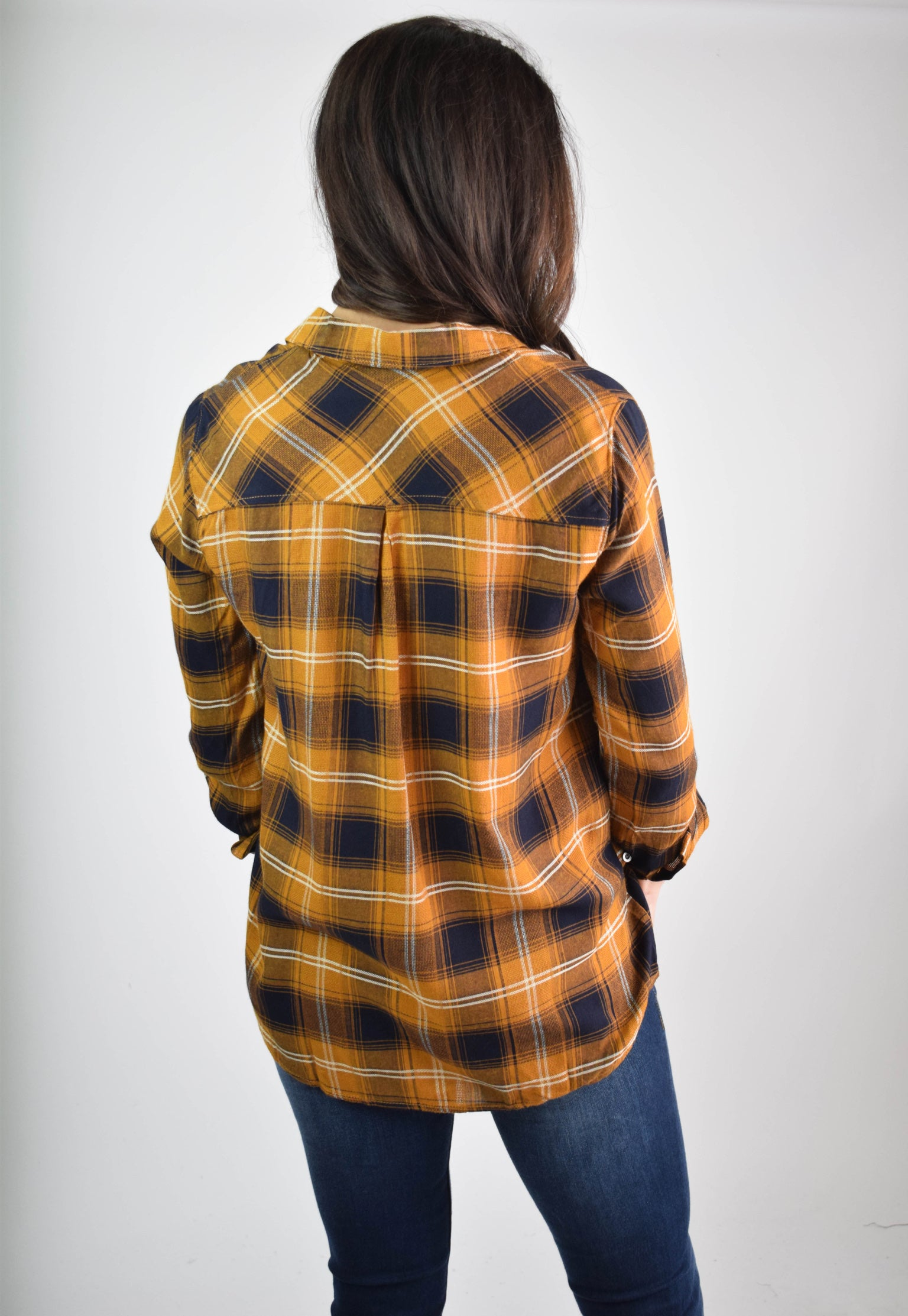 All We Know Plaid- Mustard/Navy